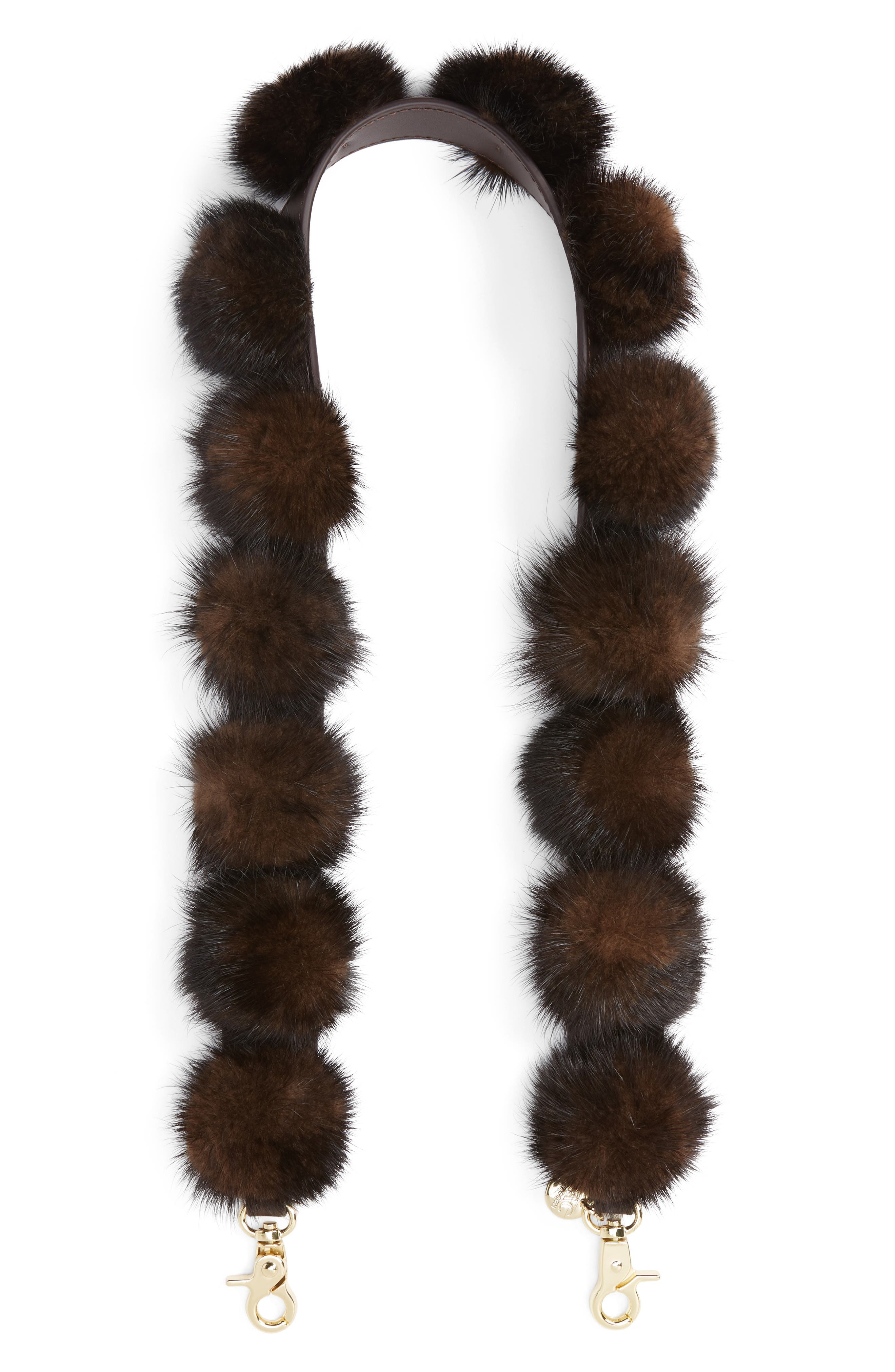 All That Jazz Genuine Mink Fur Guitar Style Bag Strap,                             Main thumbnail 2, color,