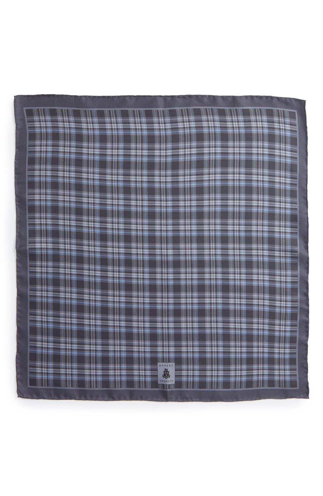 Plaid Silk Pocket Square,                             Alternate thumbnail 2, color,                             030