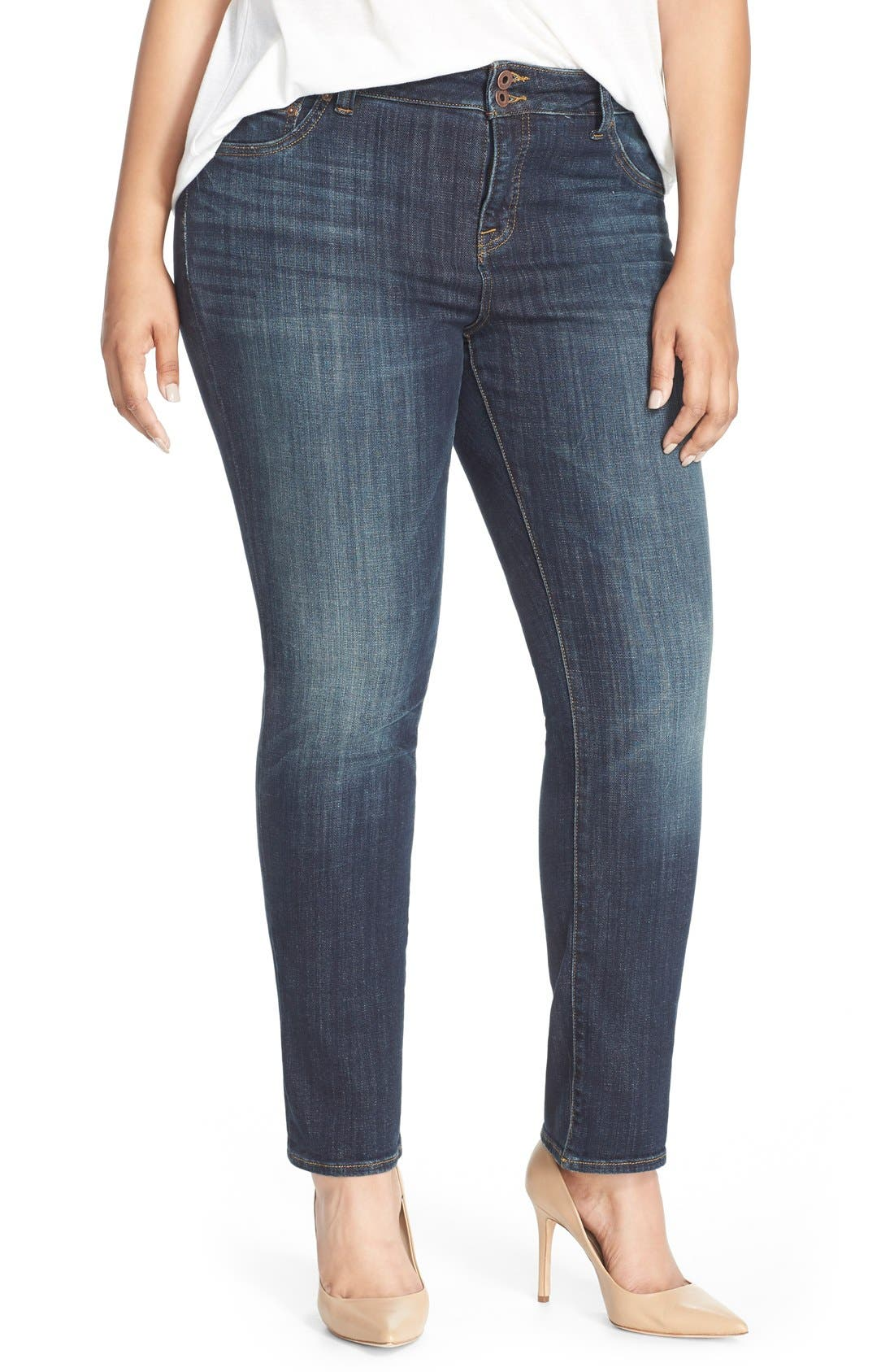 plus size women's lucky brand emma high rise stretch straight leg jeans, size 24w - blue