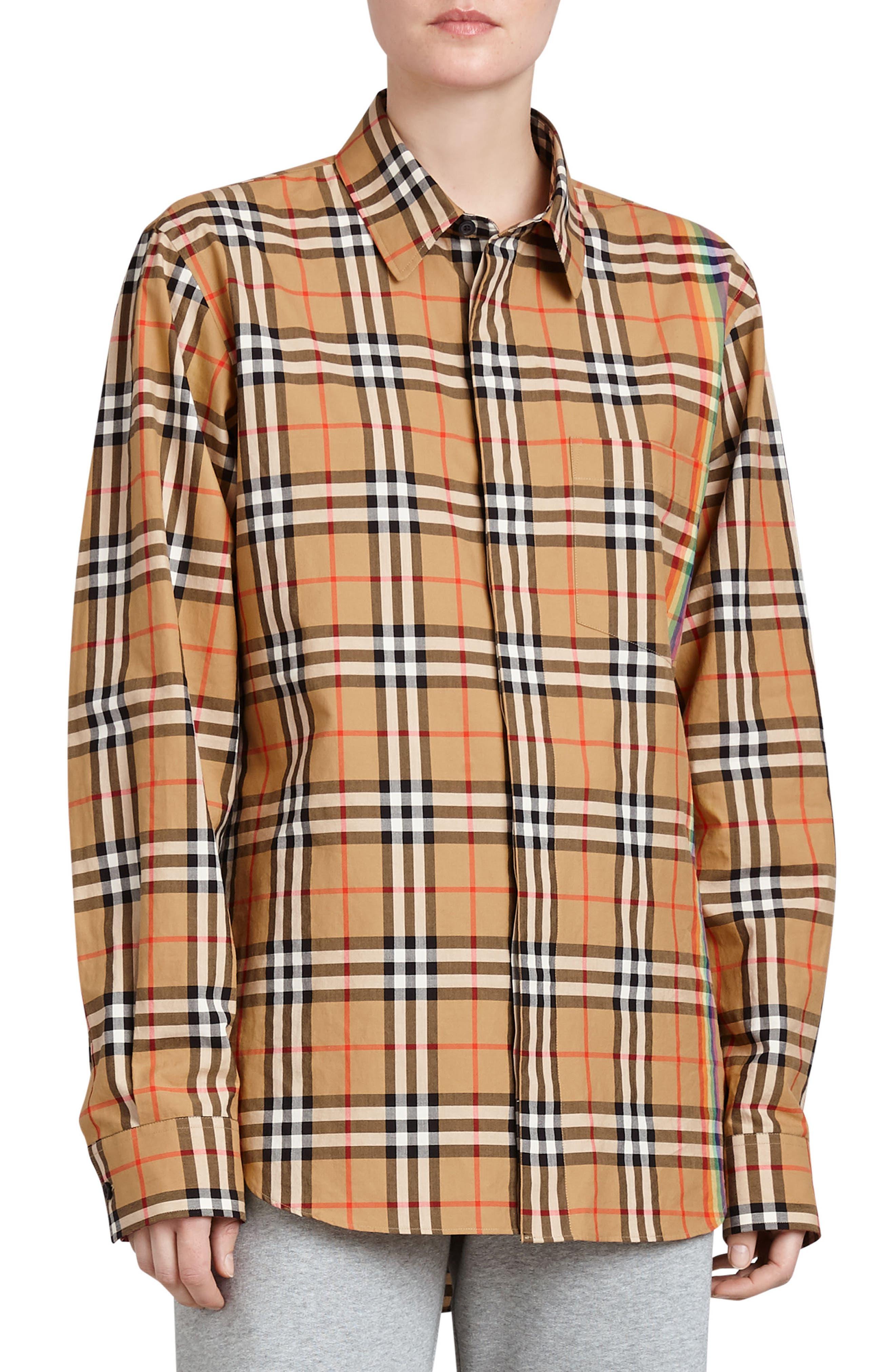 BURBERRY,                             Rainbow Check Shirt,                             Main thumbnail 1, color,                             254