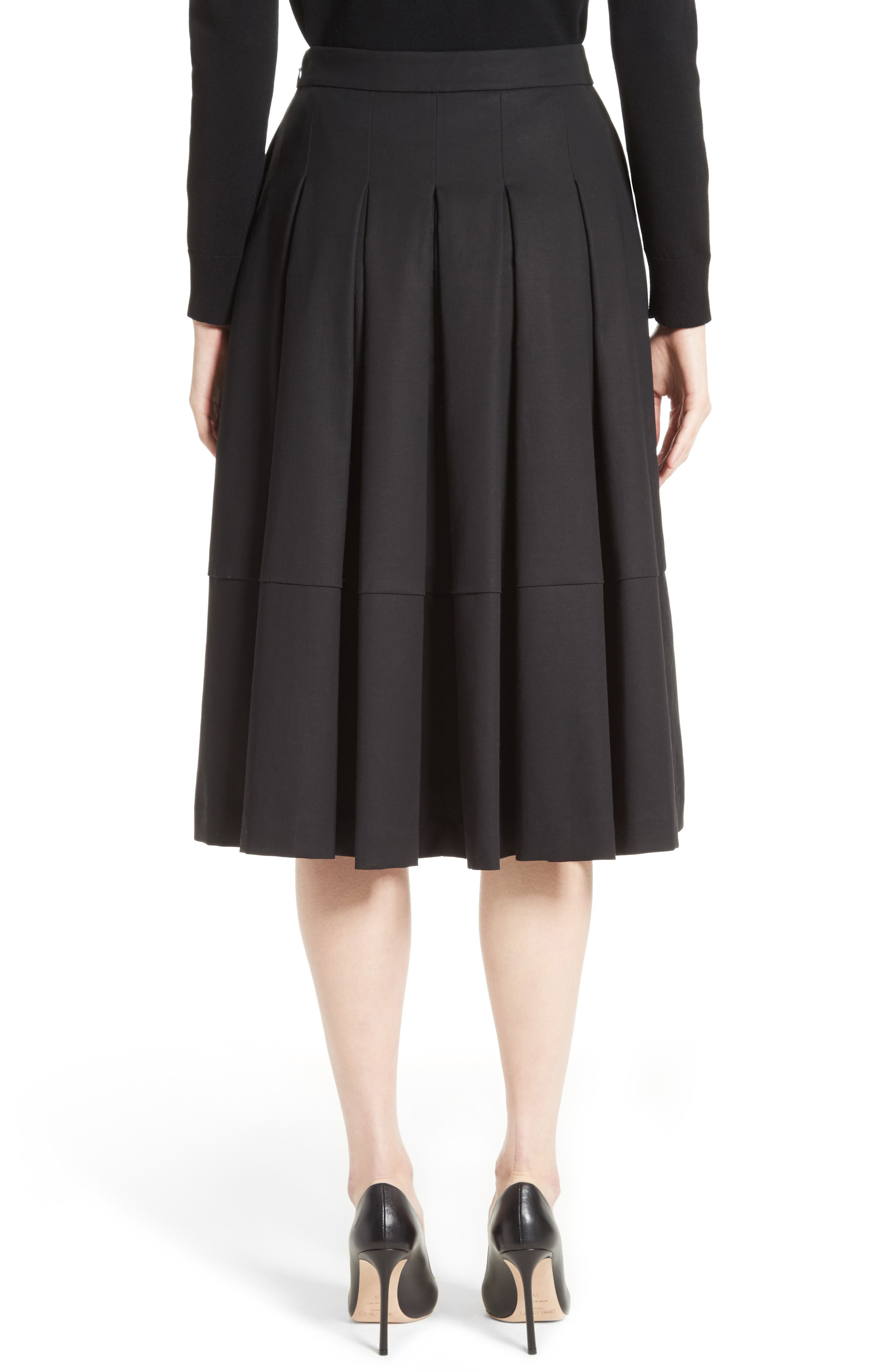 Gabardine Pleated Skirt,                             Alternate thumbnail 2, color,                             001
