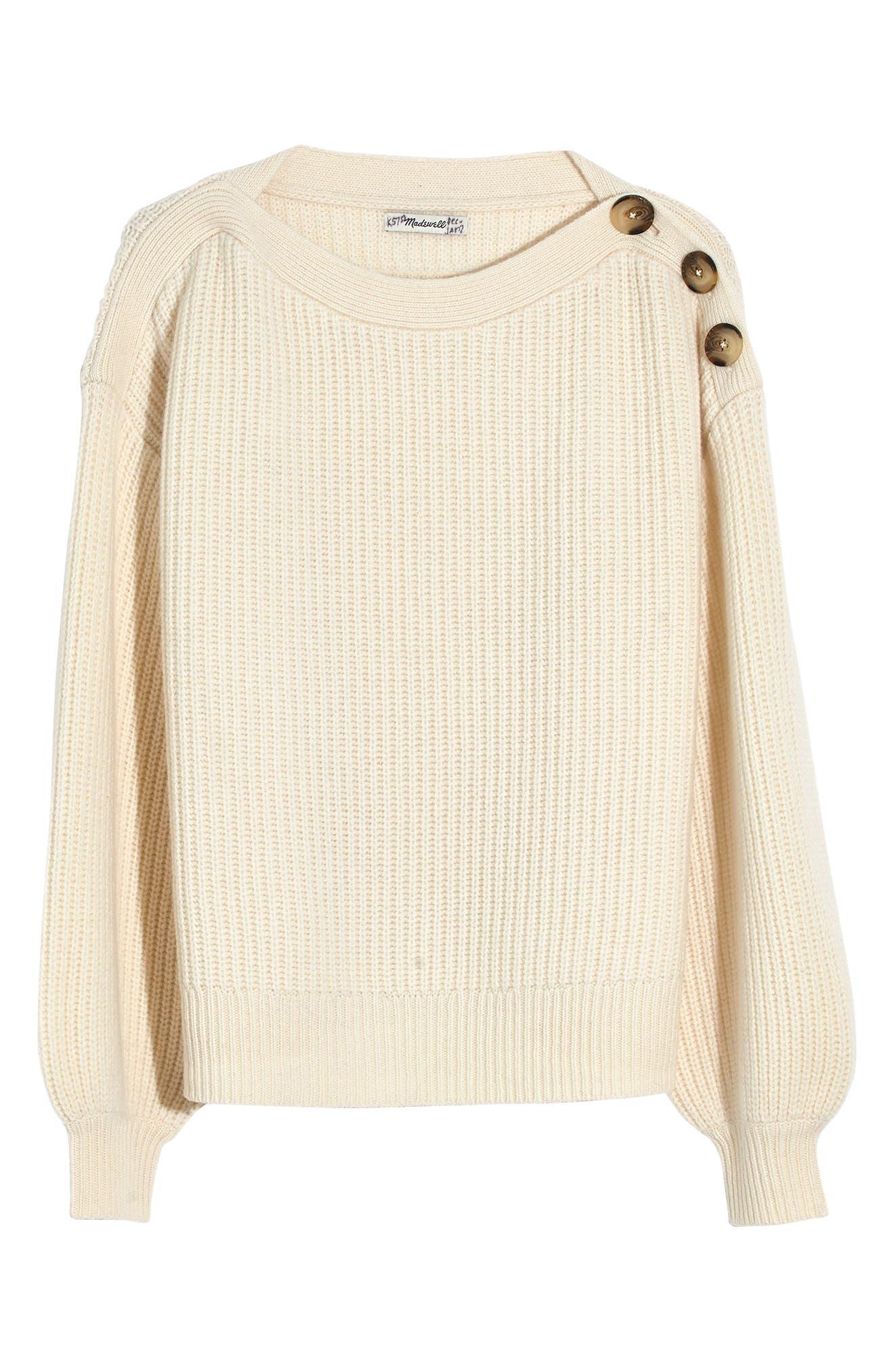 Boat Neck Button Shoulder Sweater,                             Alternate thumbnail 5, color,                             ANTIQUE CREAM