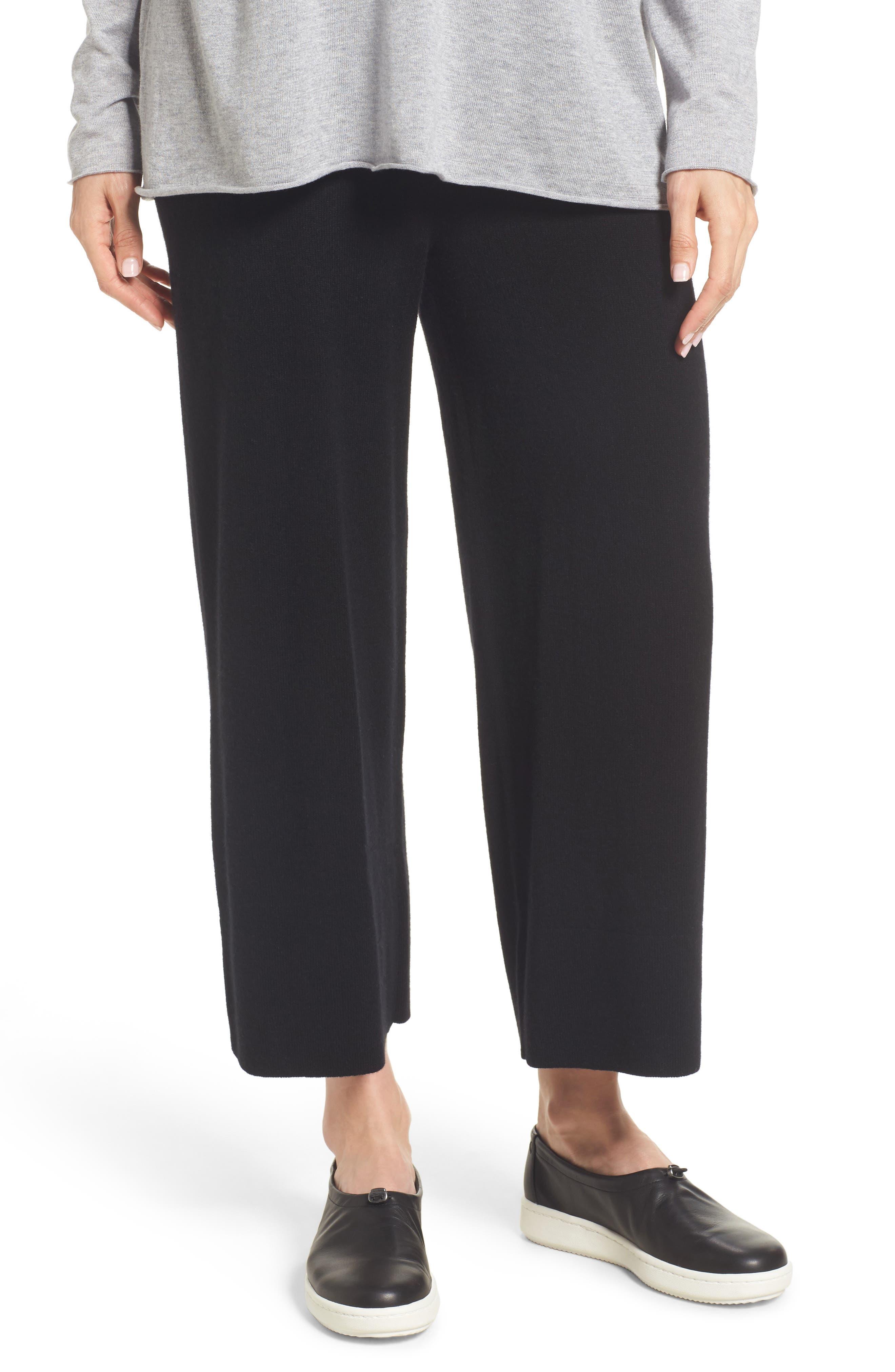 Knit Cashmere Ankle Pants,                             Main thumbnail 1, color,                             001