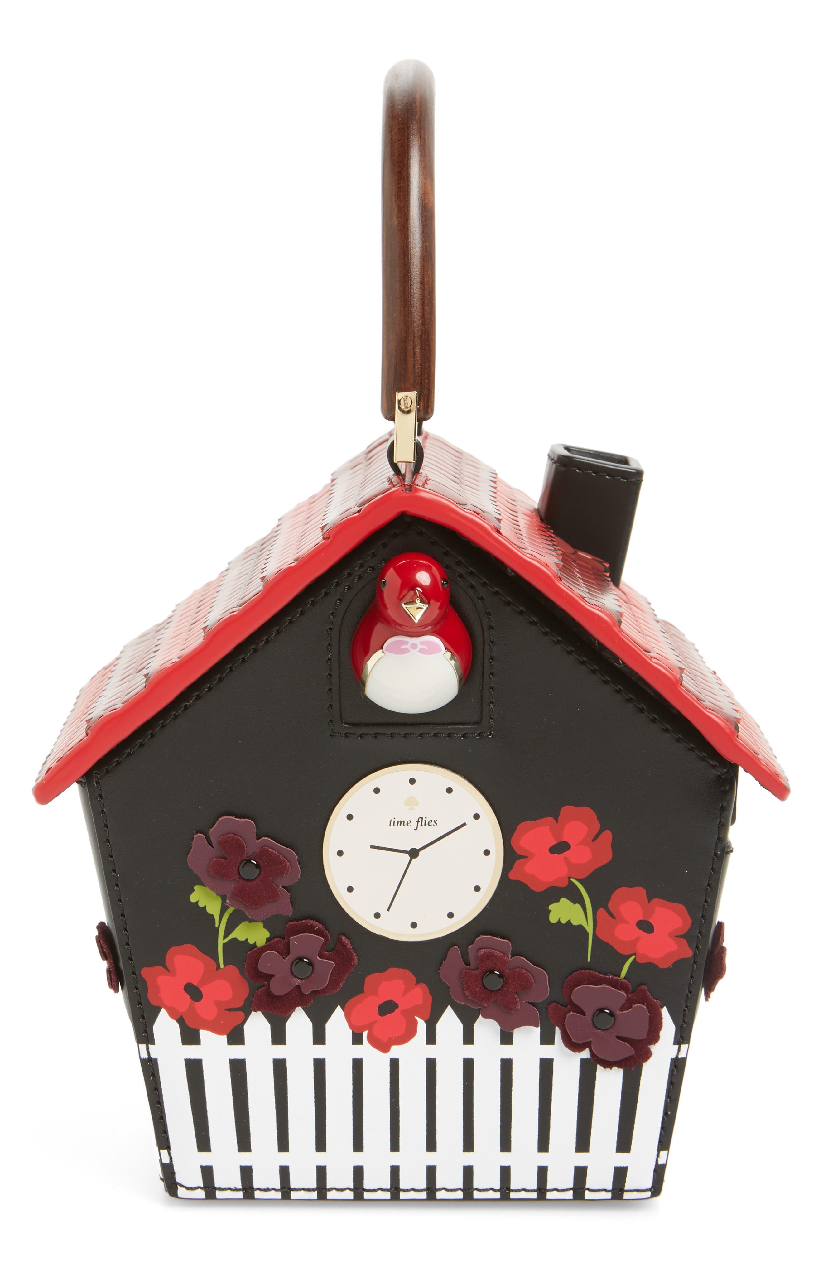 ooh la la cuckoo clock leather handbag,                             Alternate thumbnail 5, color,                             001