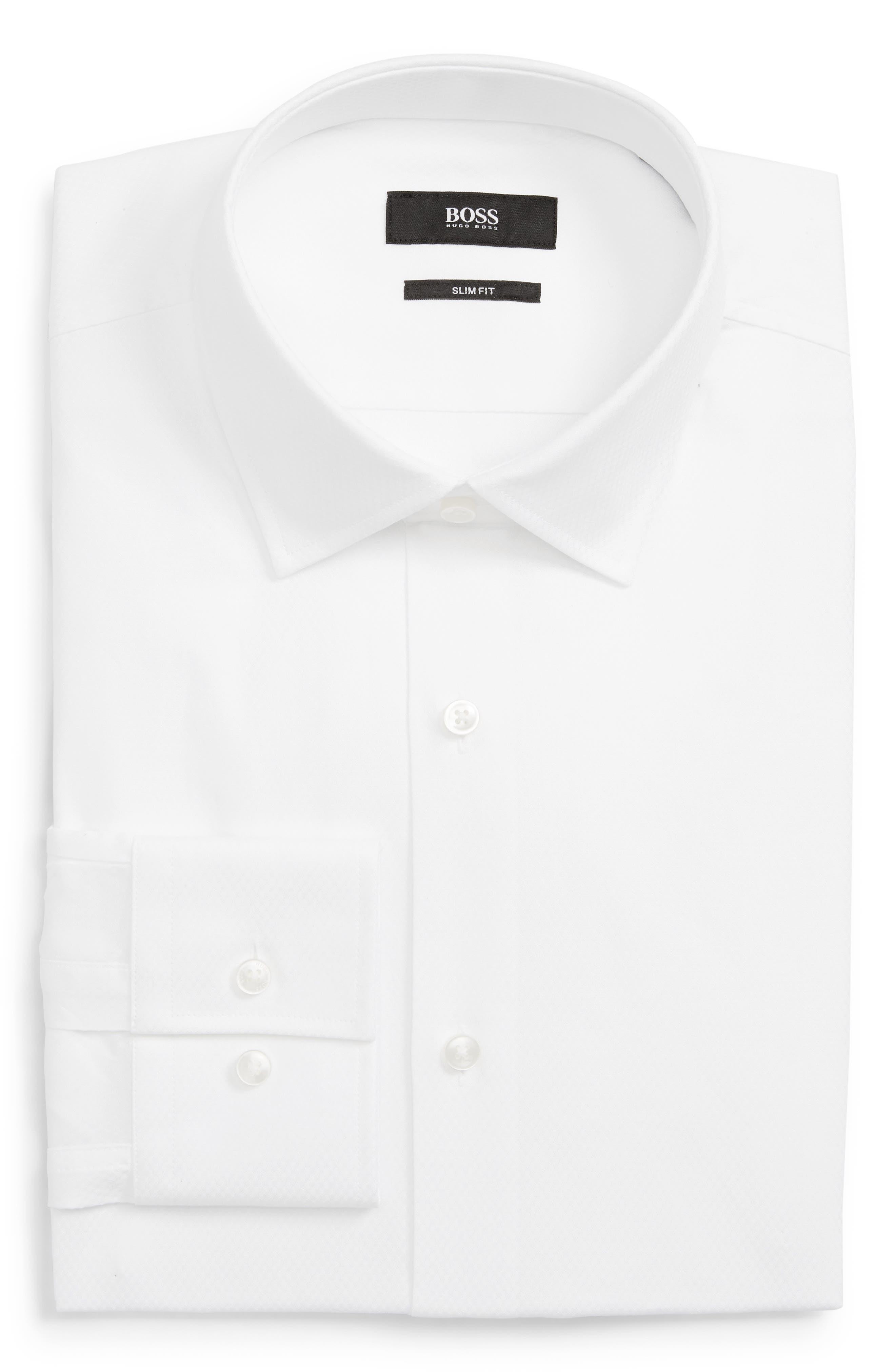 BOSS,                             Jenno Slim Fit Solid Dress Shirt,                             Main thumbnail 1, color,                             100