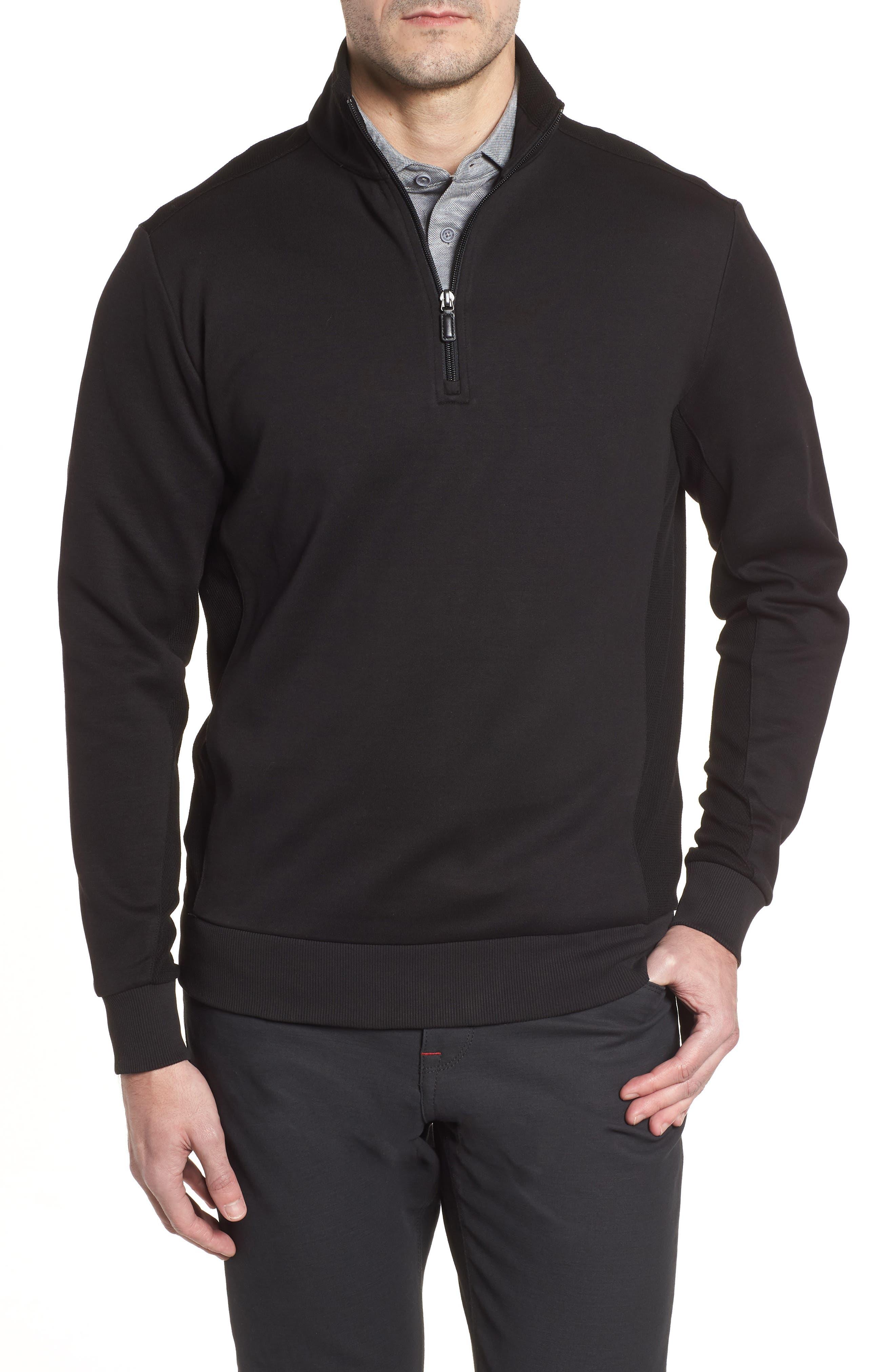 Regular Fit Knit Quarter Zip Pullover,                             Main thumbnail 1, color,                             001