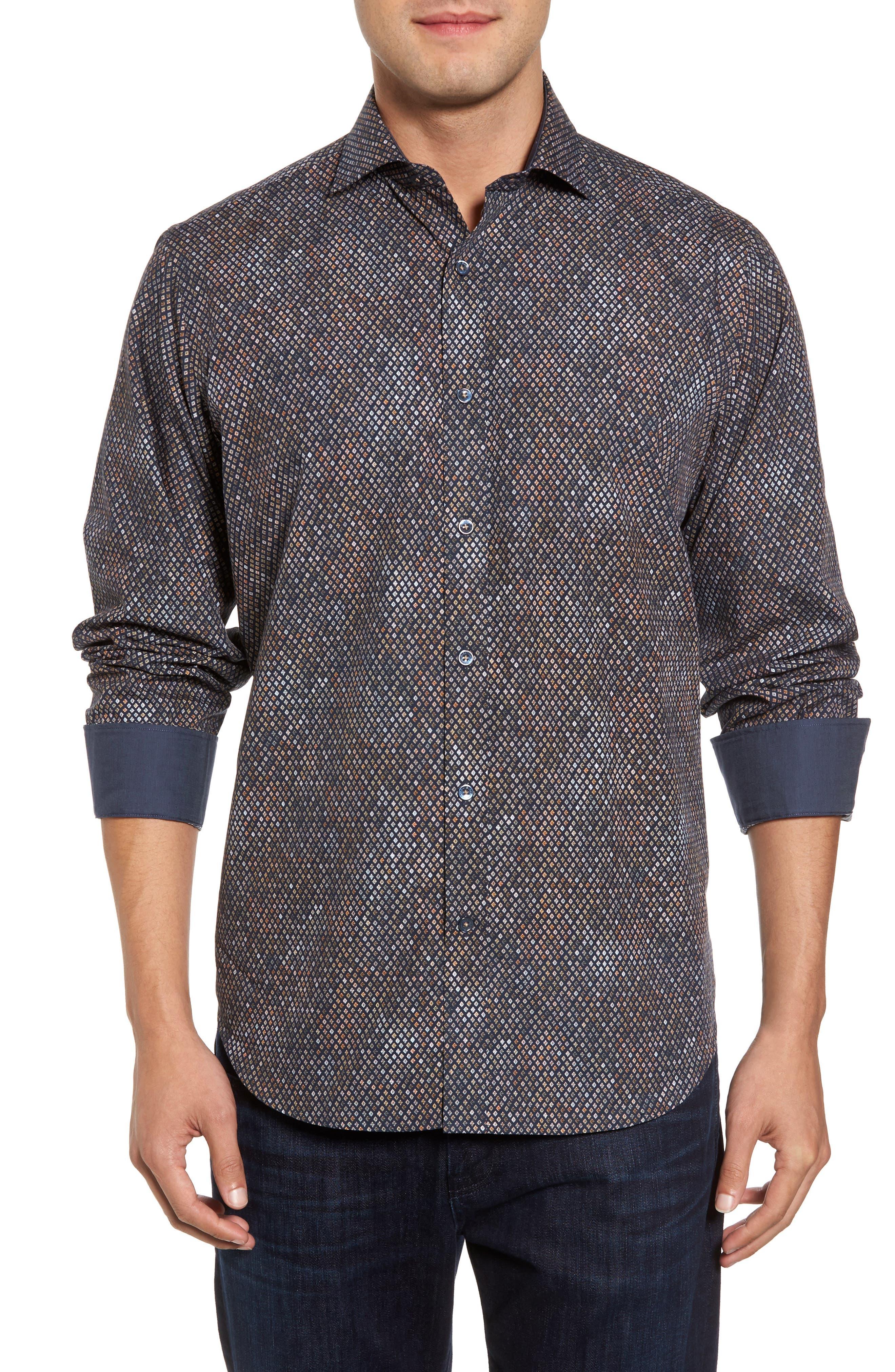 Classic Fit Floral Diamond Sport Shirt,                         Main,                         color,