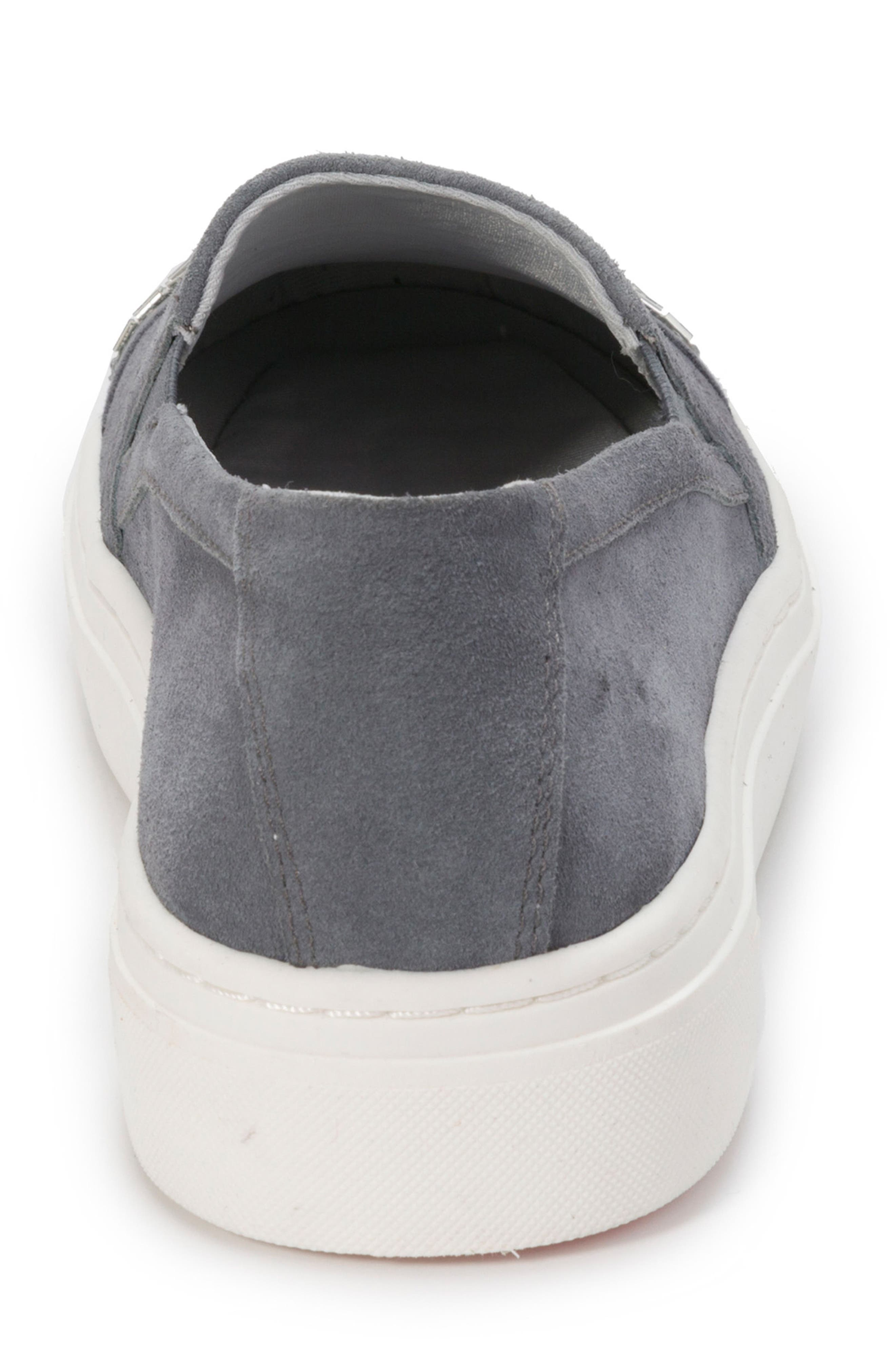 Finley Slip-On Sneaker,                             Alternate thumbnail 7, color,                             DENIM BLUE SUEDE