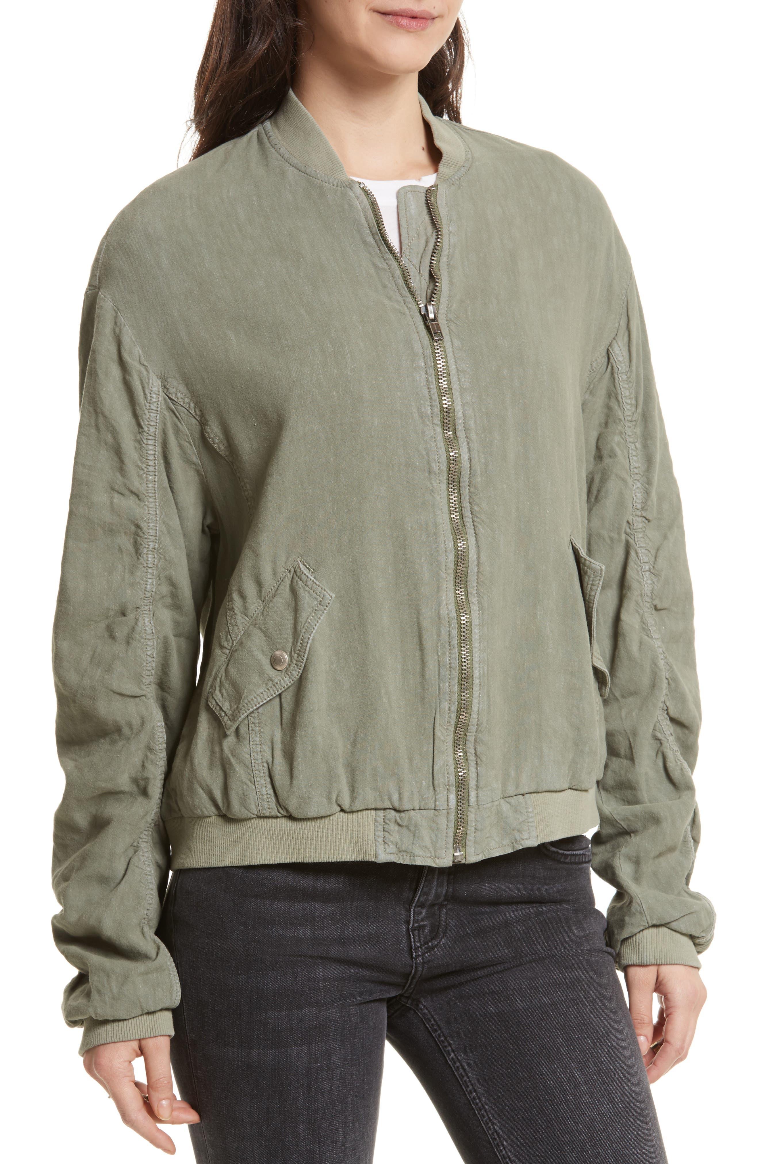 Ruched Linen Bomber Jacket,                             Alternate thumbnail 4, color,                             300