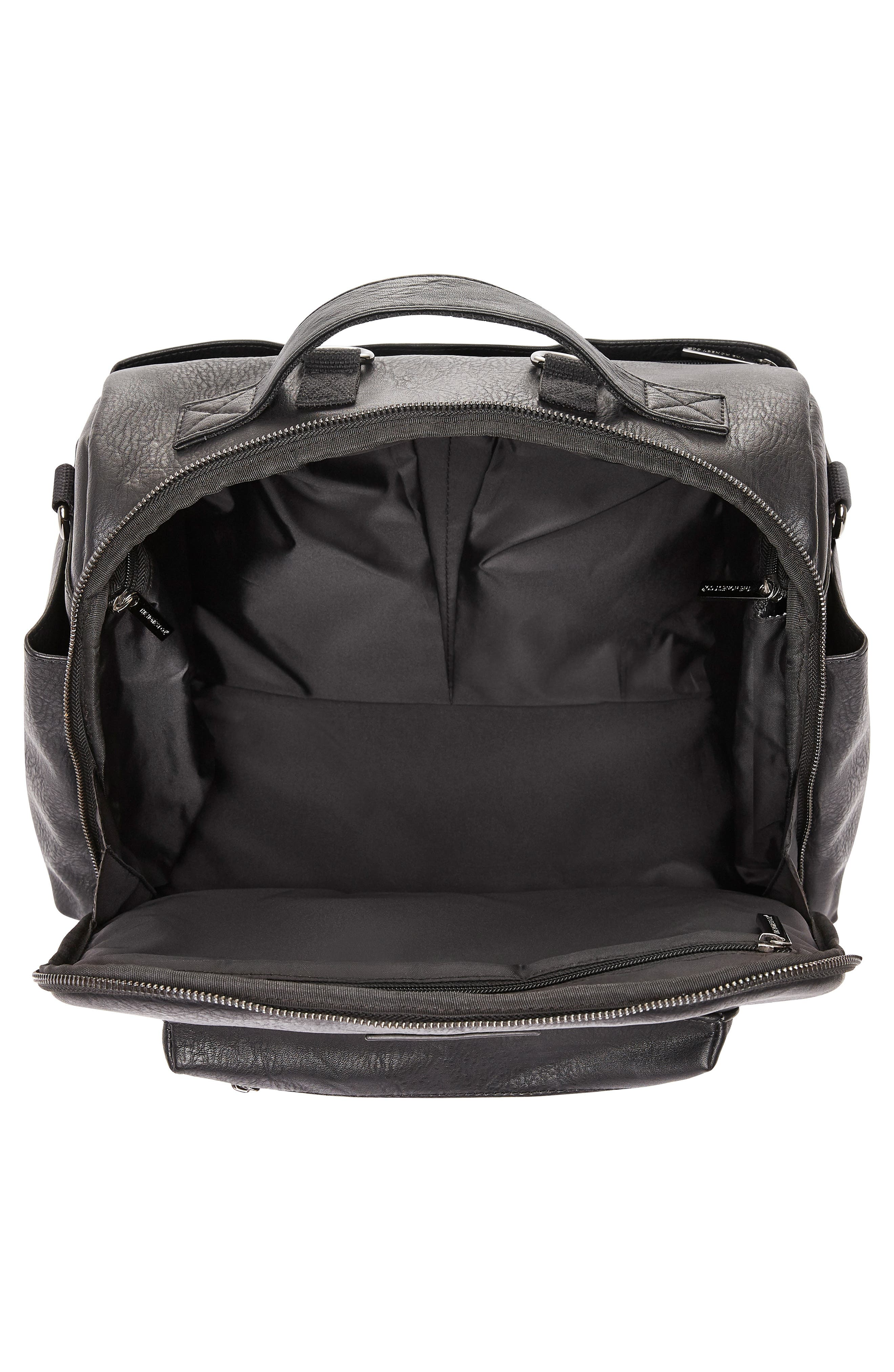 Cross Country Faux Leather Diaper Bag,                             Alternate thumbnail 3, color,                             001
