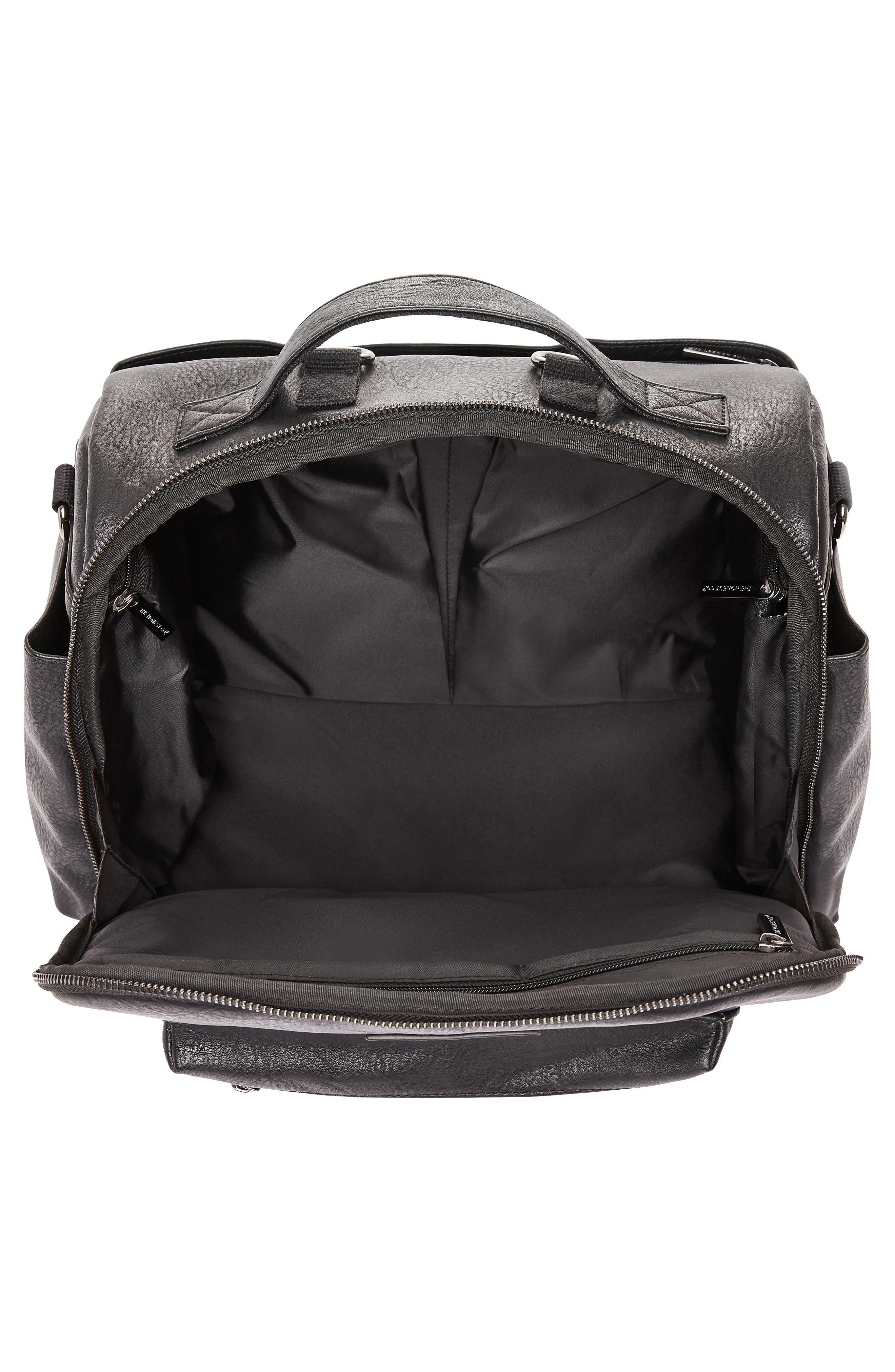 Cross Country Faux Leather Diaper Bag,                             Alternate thumbnail 3, color,                             BLACK