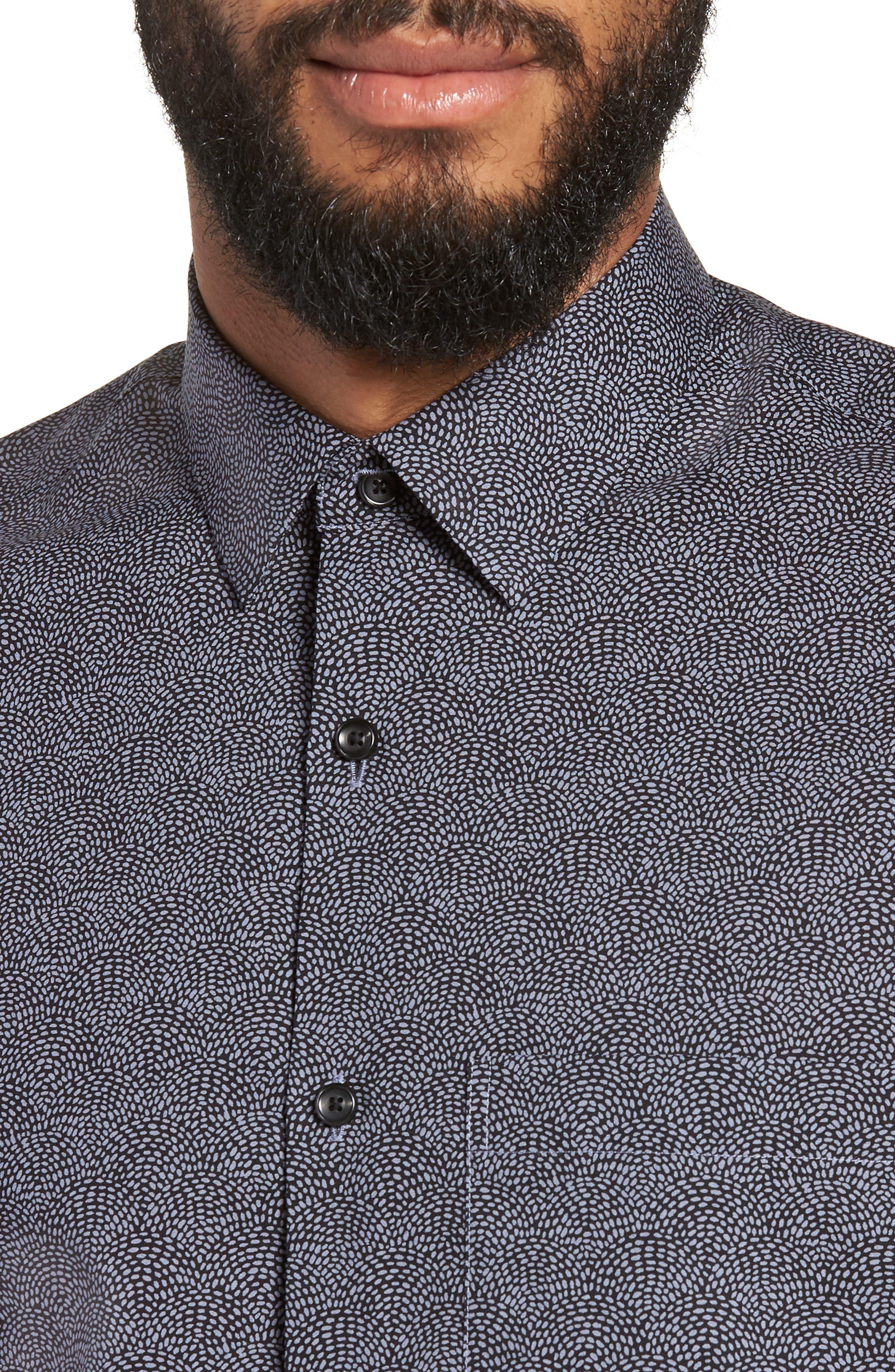 Slim Fit Print Non-Iron Sport Shirt,                             Alternate thumbnail 4, color,                             GREY FOLKSTONE BLACK DOT