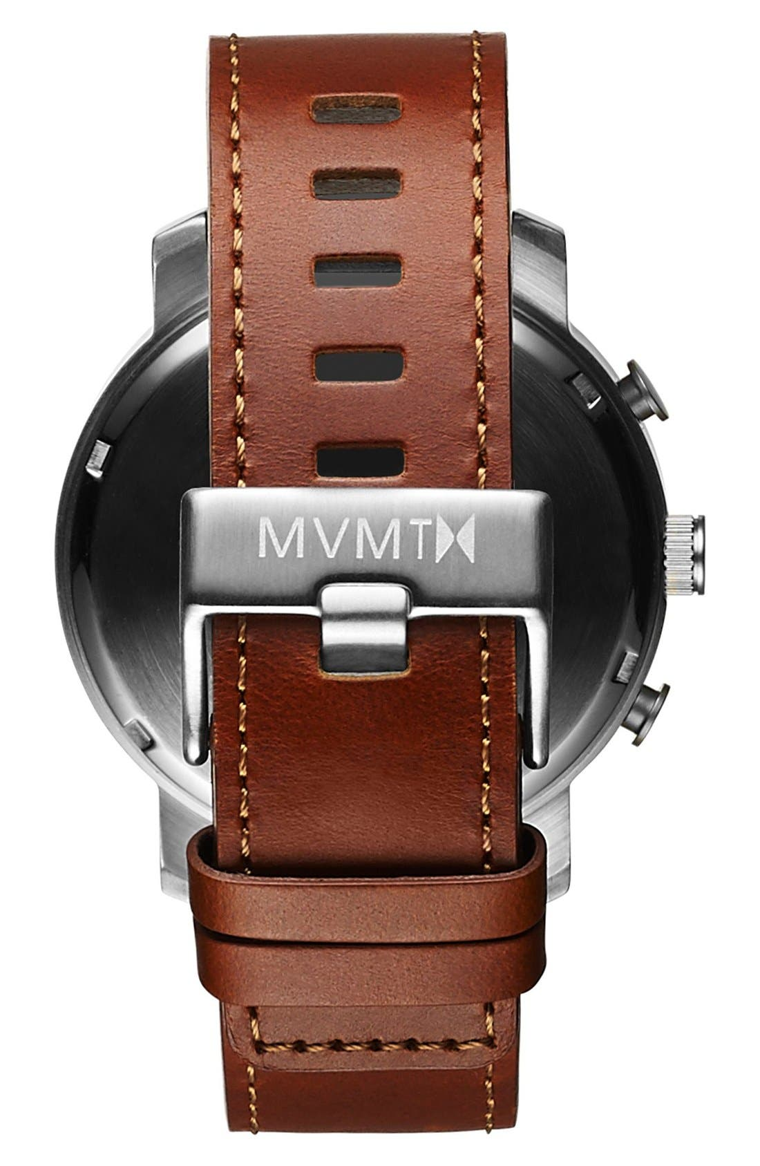 Chronograph Leather Strap Watch, 45mm,                             Alternate thumbnail 2, color,                             201