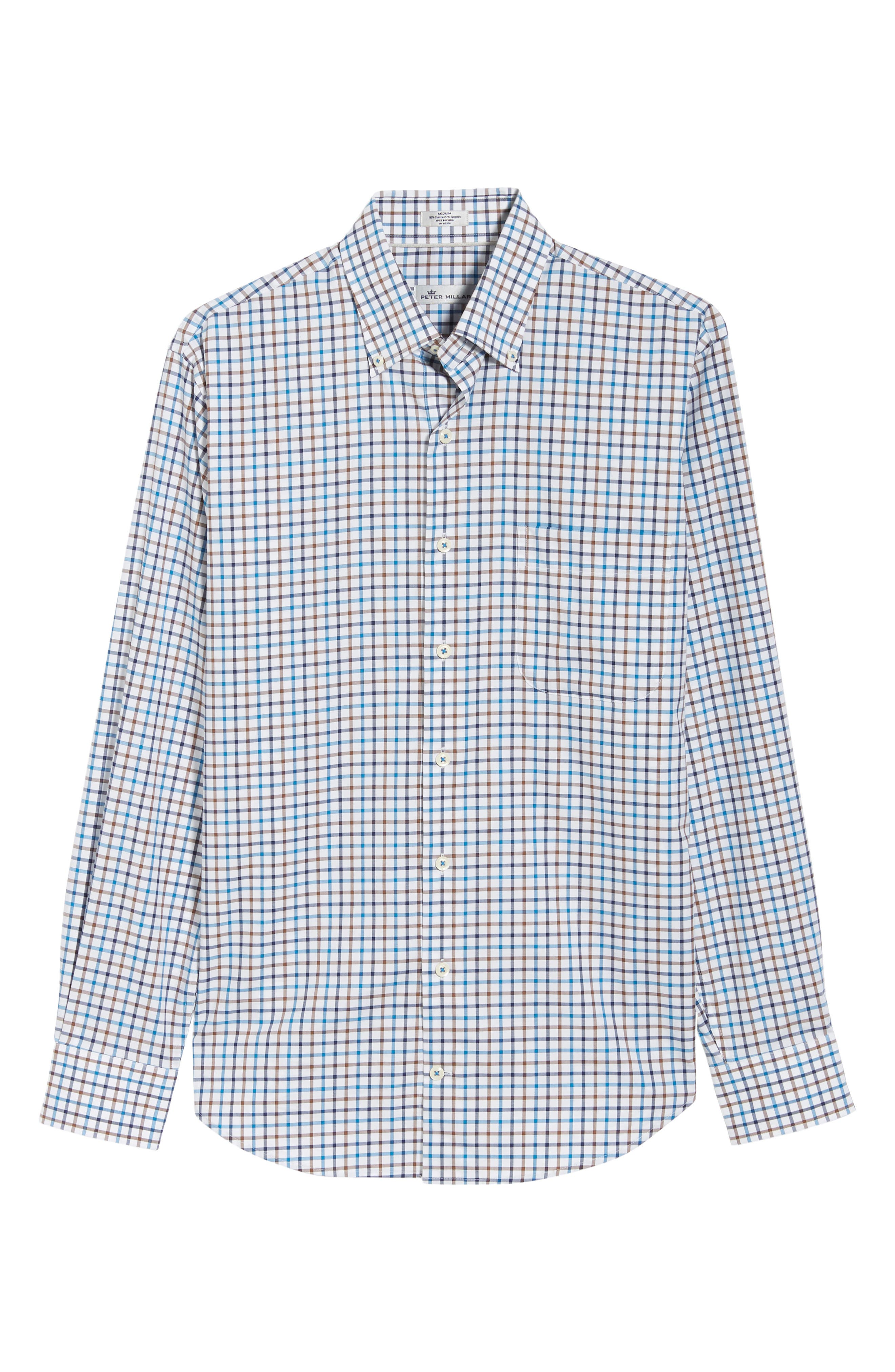 Crown Ease Eyre Regular Fit Tattersall Check Sport Shirt,                             Alternate thumbnail 5, color,                             BLUE