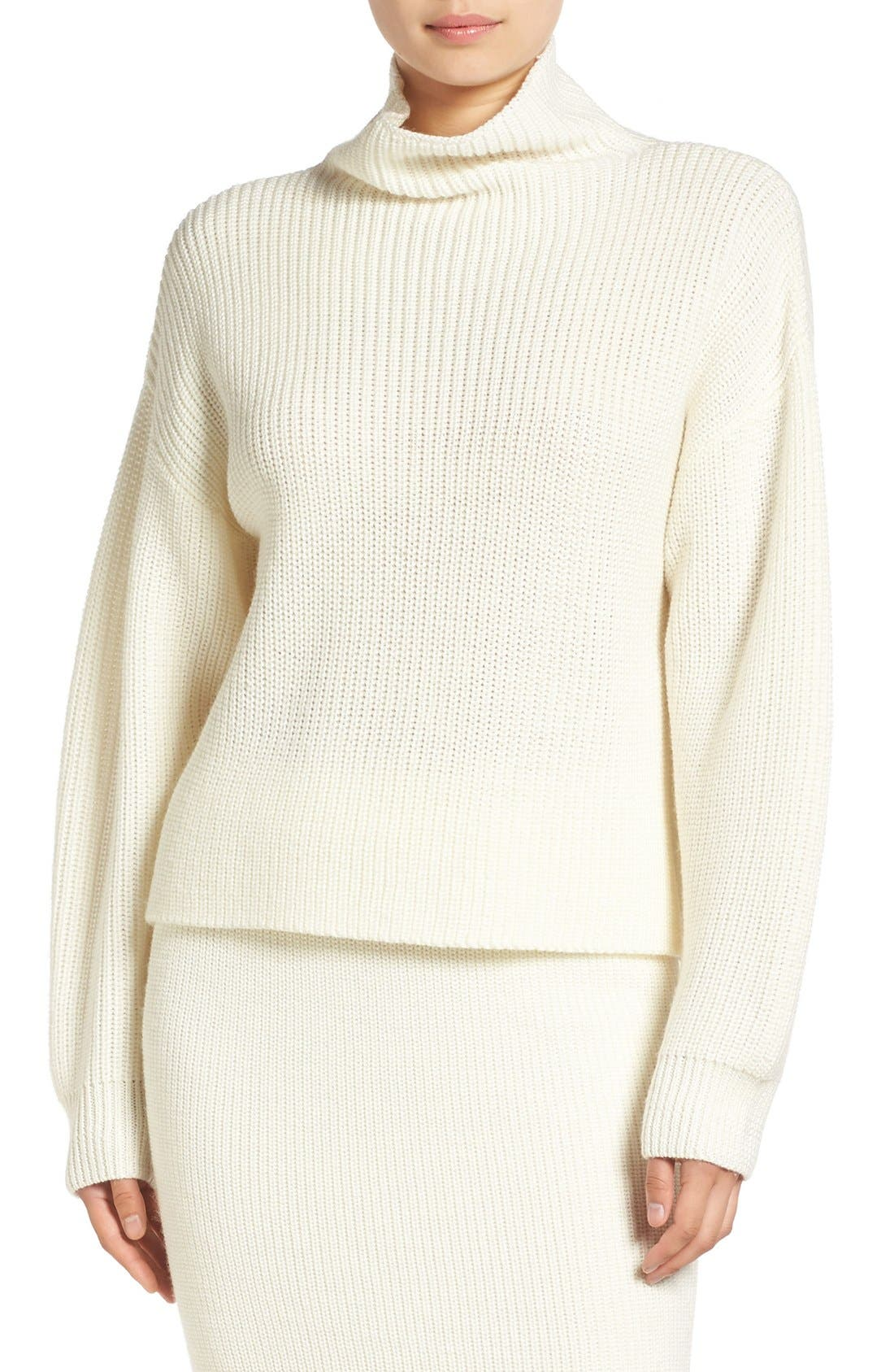 by Lauren Conrad 'Vancouver' Funnel Neck Sweater,                             Main thumbnail 1, color,                             100
