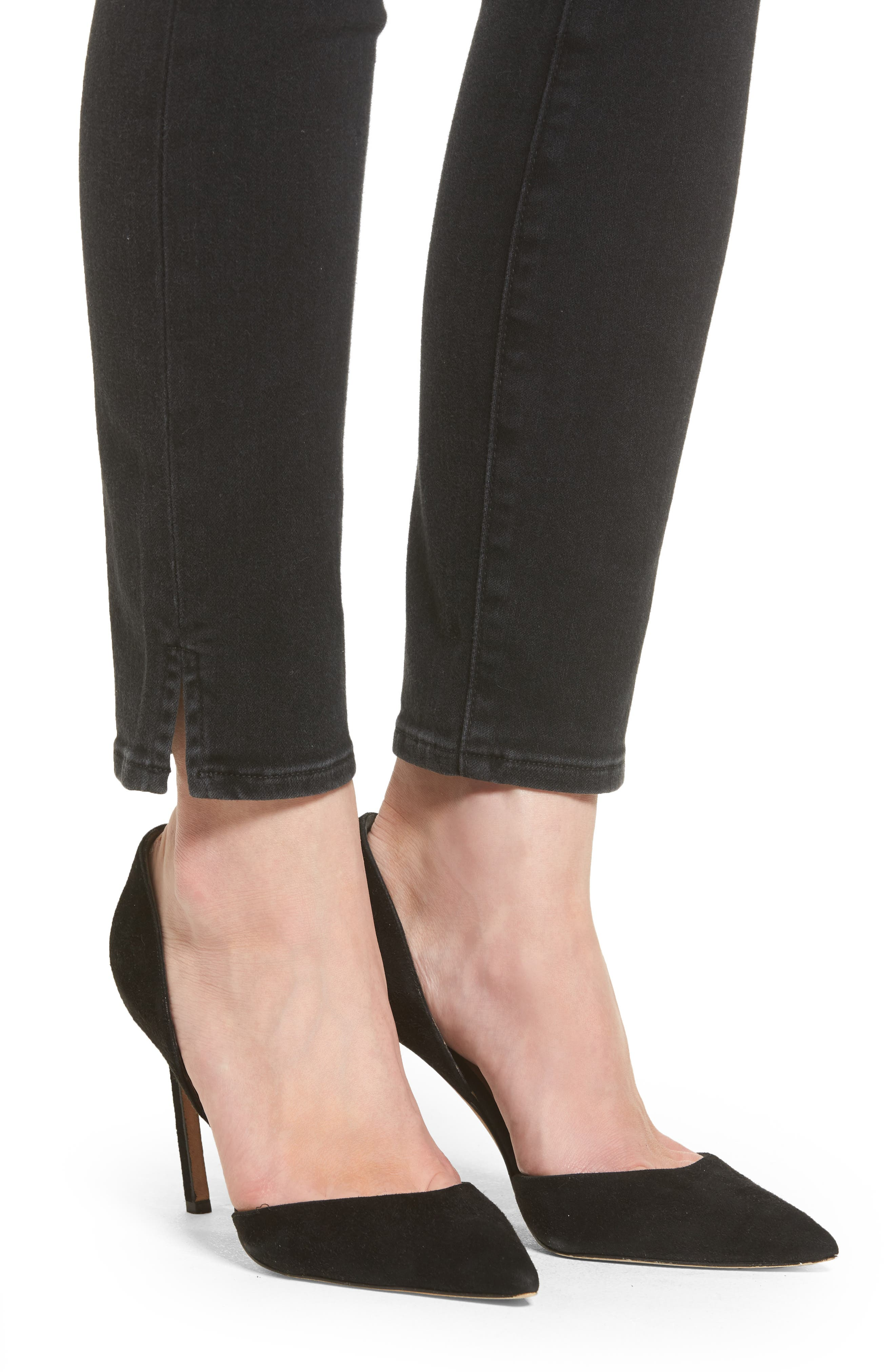 Hoxton Button High Waist Ankle Skinny Jeans,                             Alternate thumbnail 4, color,                             400