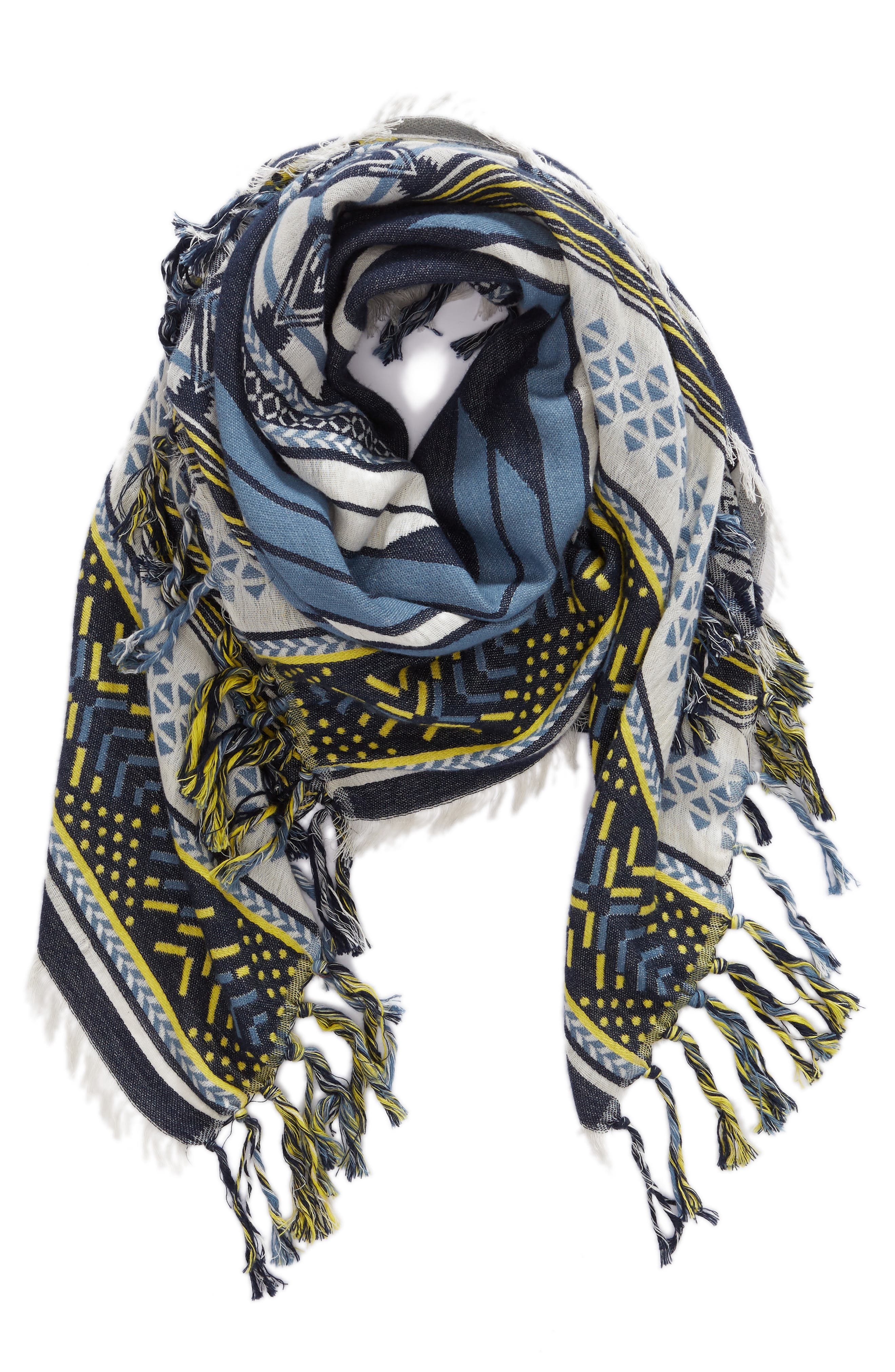 Bold Geo Jacquard Cotton Scarf,                             Alternate thumbnail 2, color,                             415