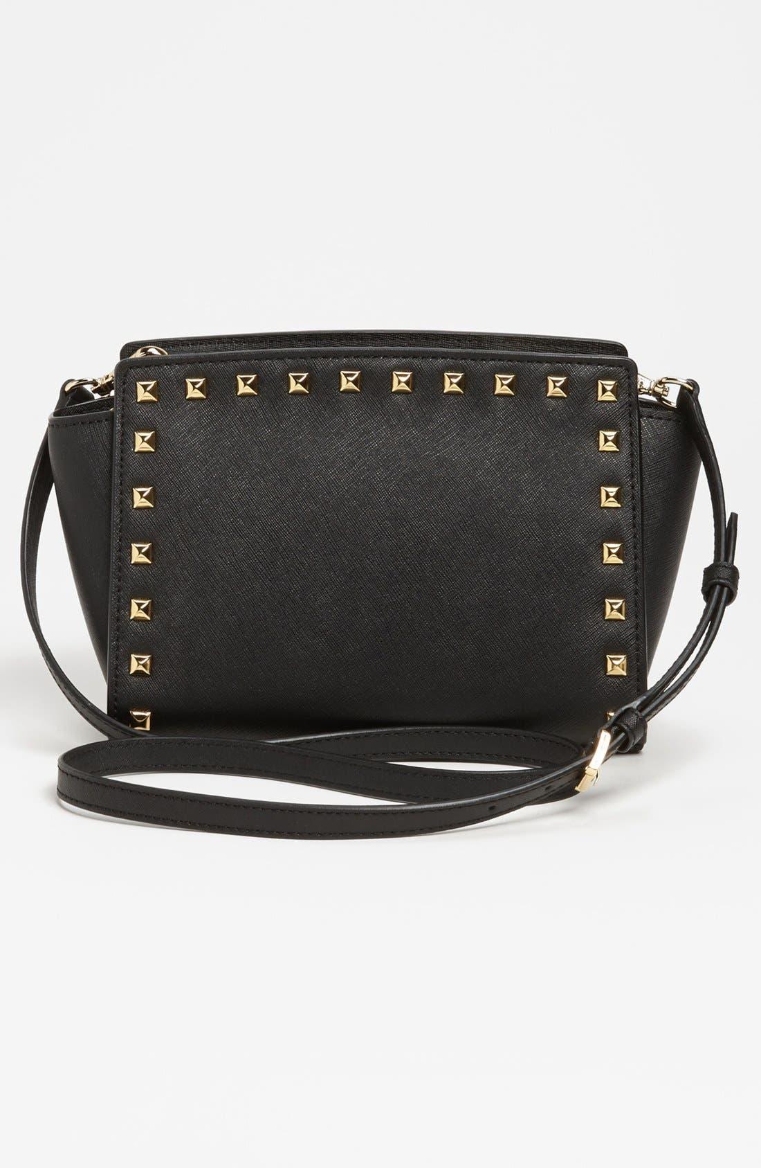 'Selma - Stud' Saffiano Leather Crossbody Bag,                             Alternate thumbnail 2, color,                             001