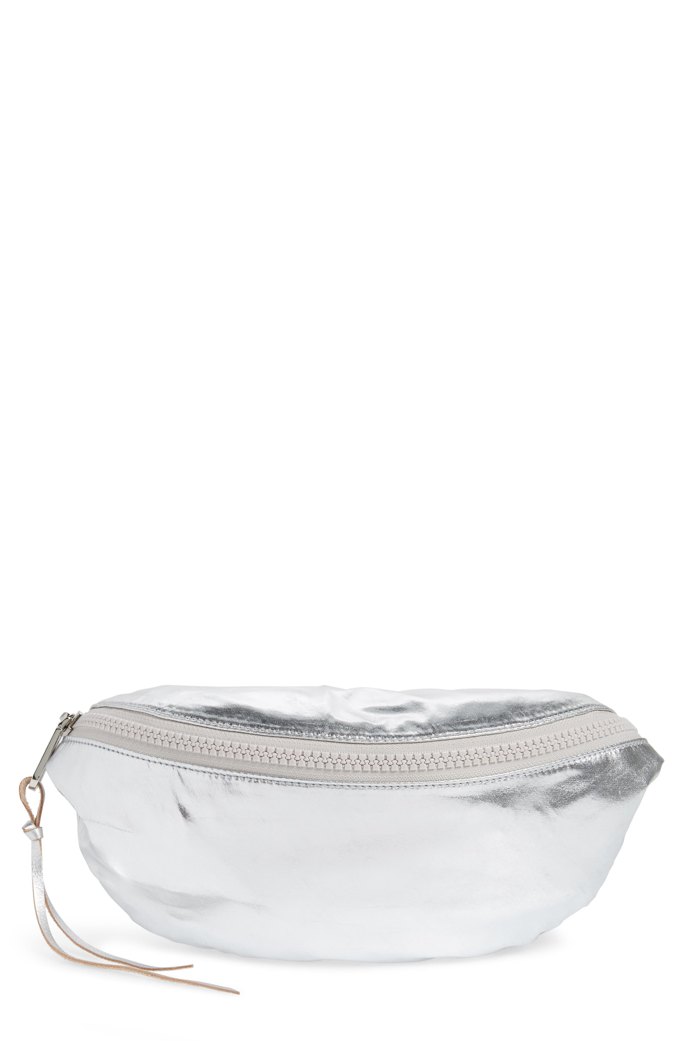 Nylon Belt Bag,                         Main,                         color, SILVER
