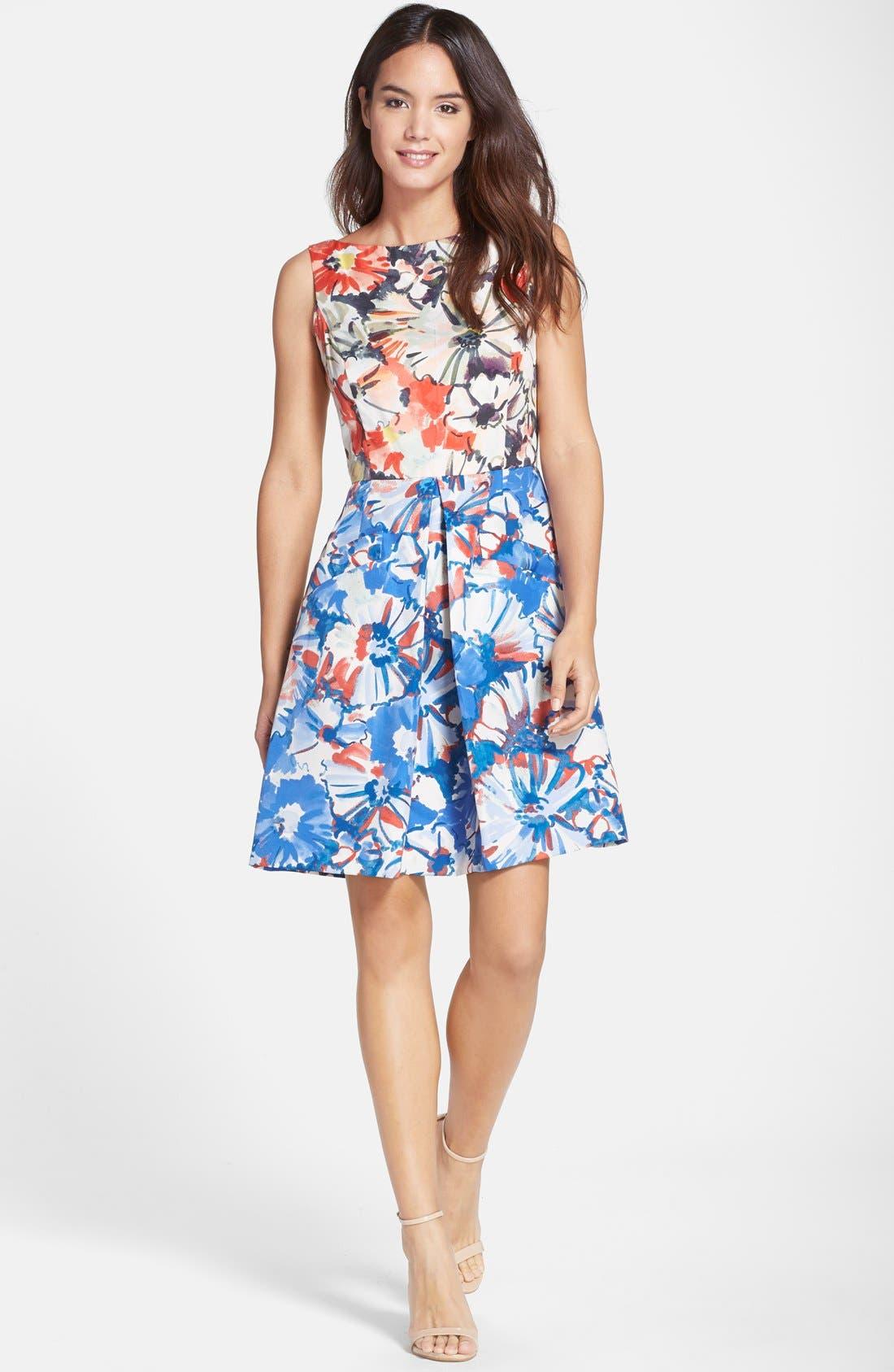 Floral Print Fit & Flare Dress,                             Alternate thumbnail 5, color,                             405