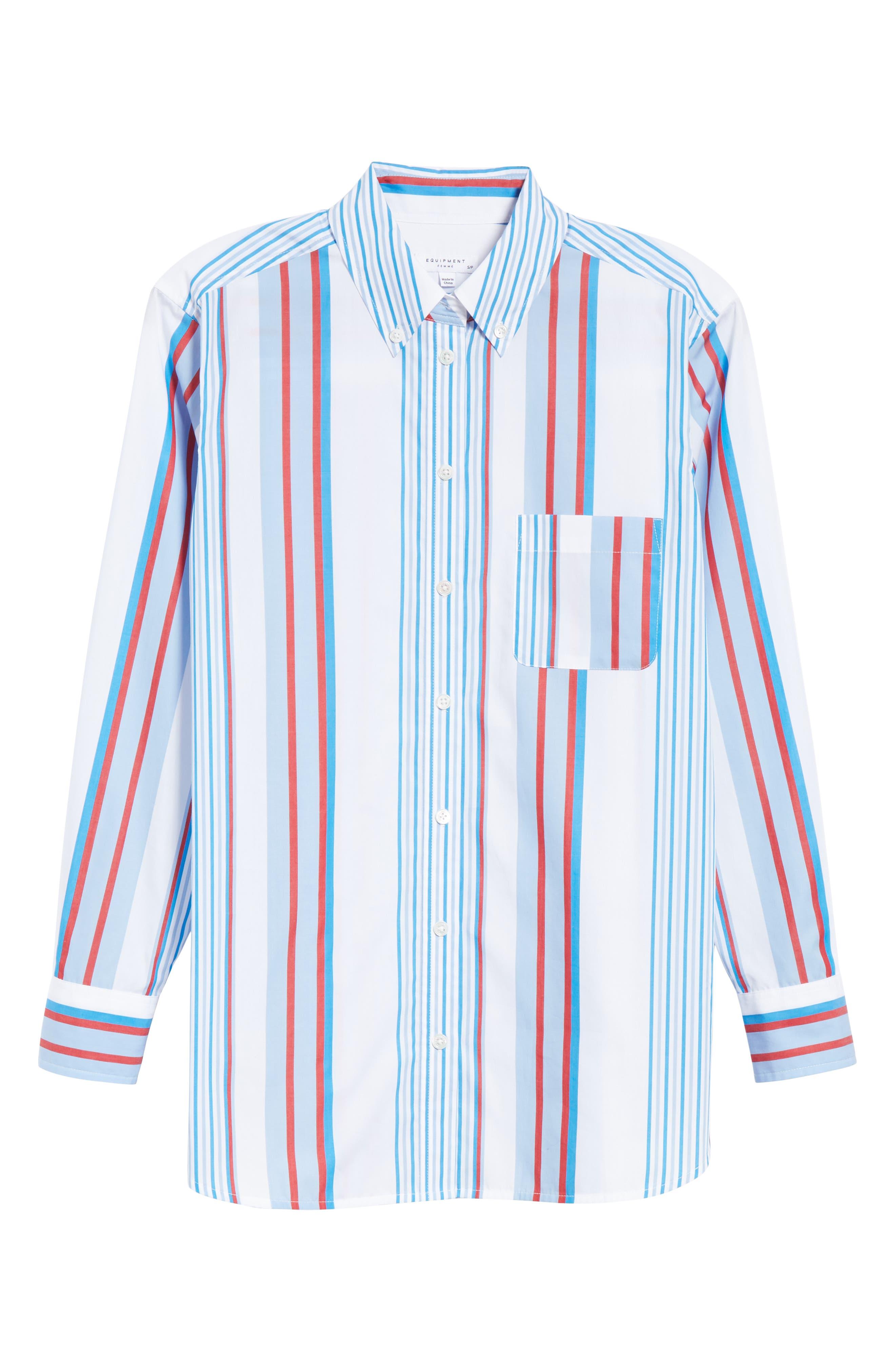 Margaux Stripe Shirt,                             Alternate thumbnail 6, color,                             BLUE WHITE MULTI