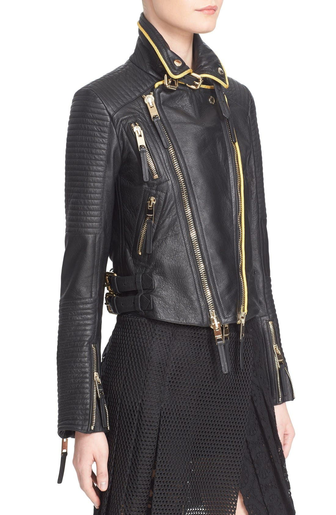 'Classic' Lambskin Leather Biker Jacket,                             Alternate thumbnail 6, color,                             001