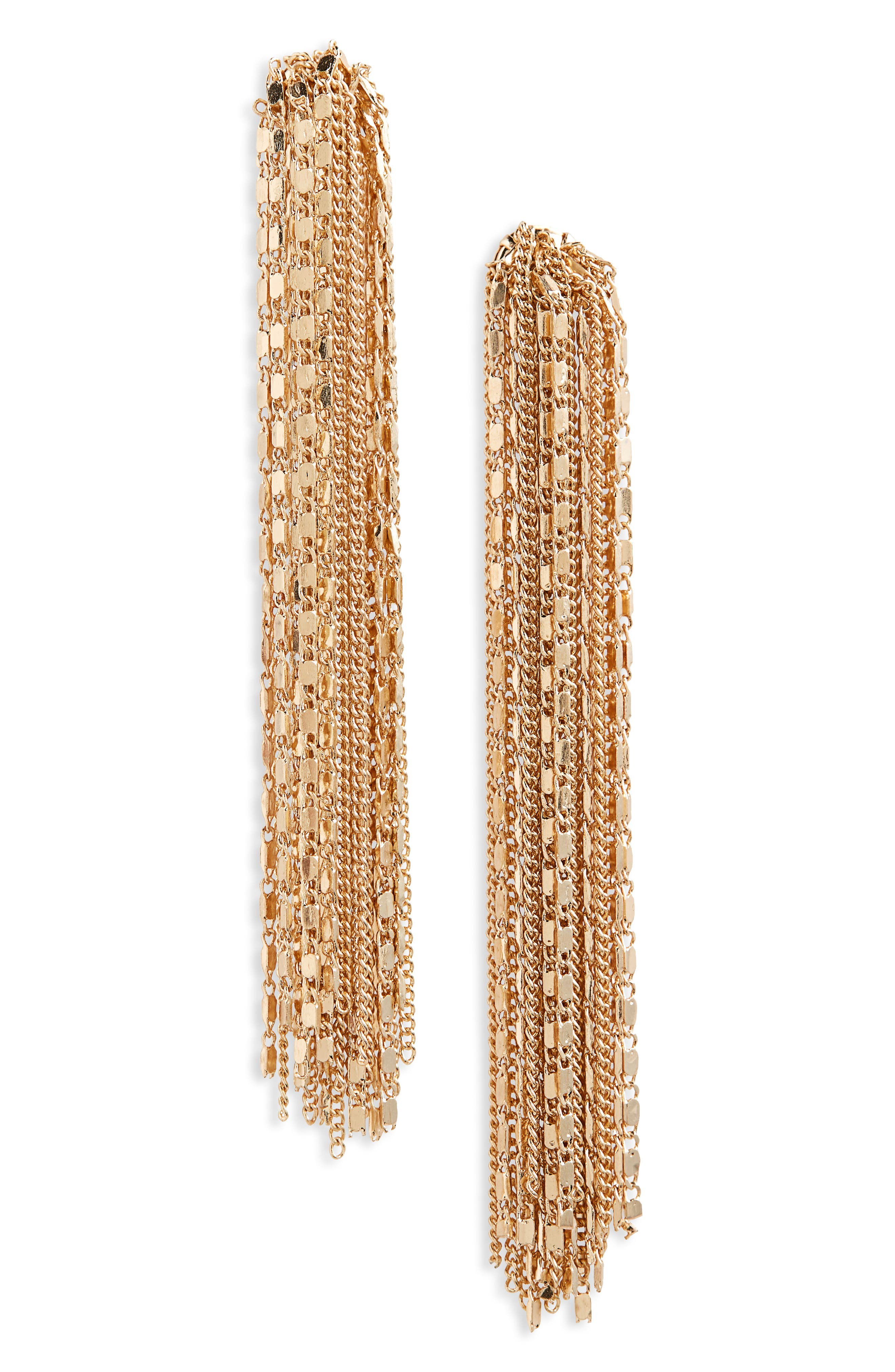Linear Fringe Drop Earrings,                             Main thumbnail 1, color,                             GOLD
