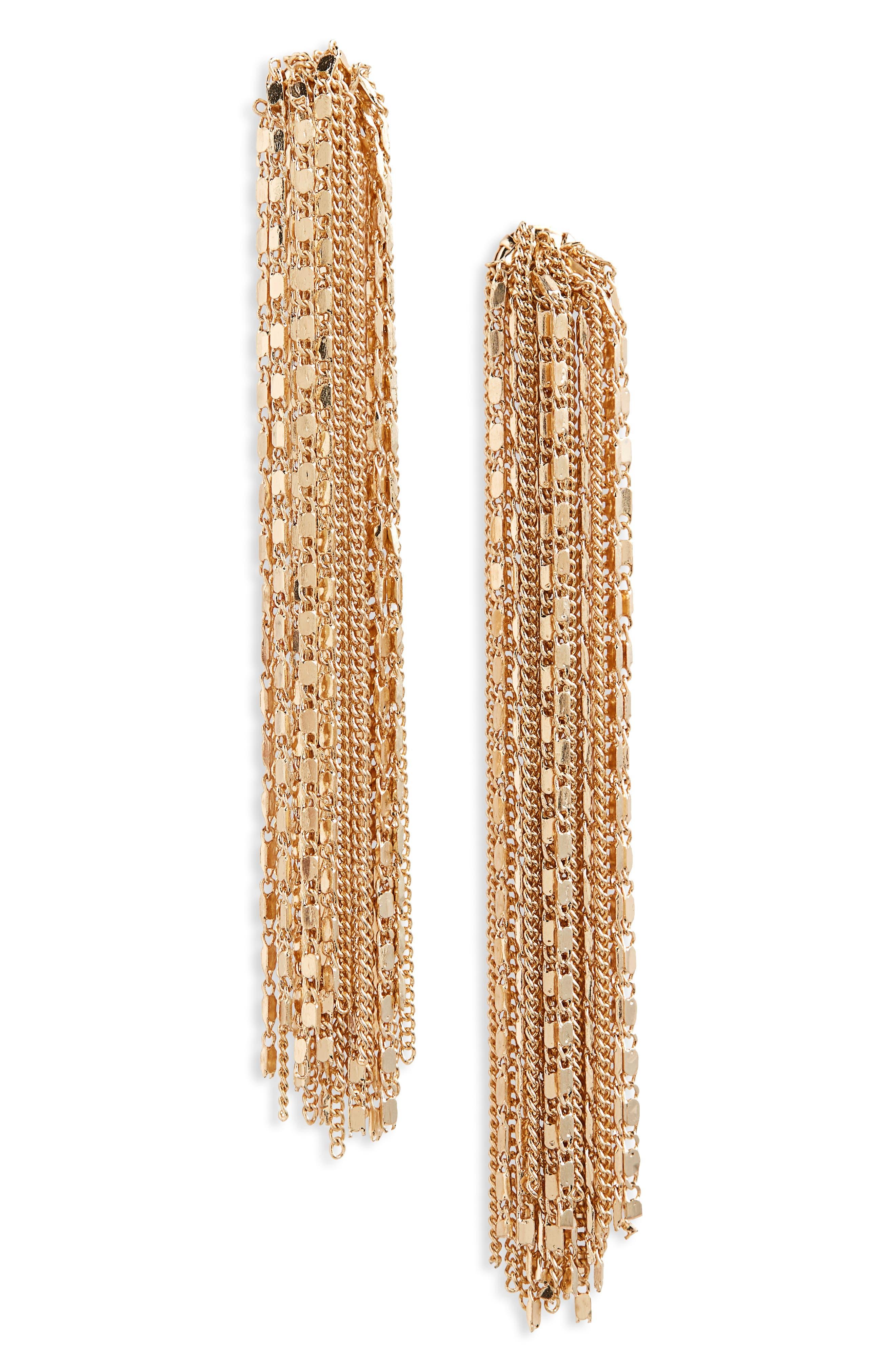 Linear Fringe Drop Earrings,                         Main,                         color, GOLD
