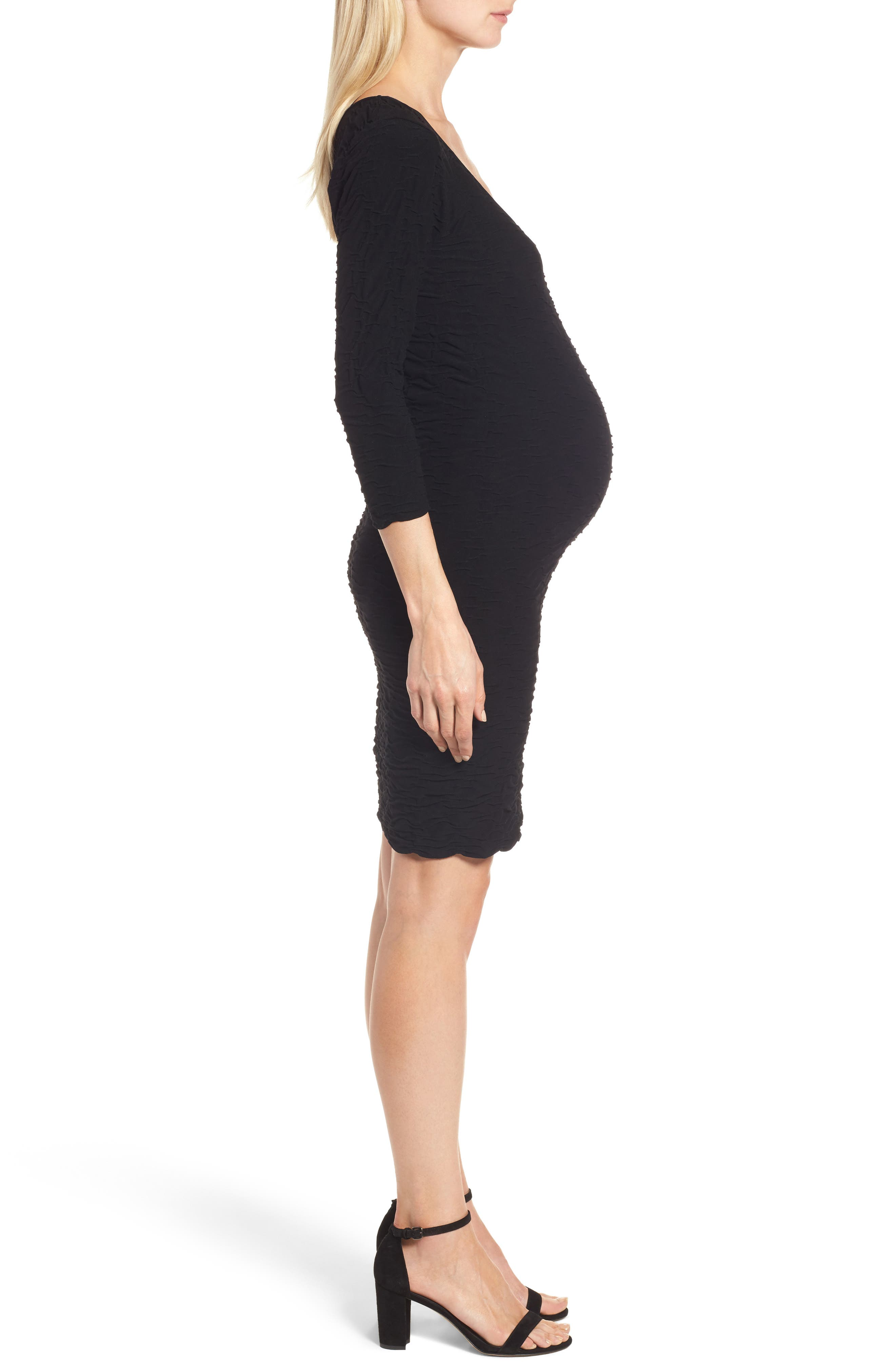 Crinkle Maternity Sheath Dress,                             Alternate thumbnail 3, color,                             001