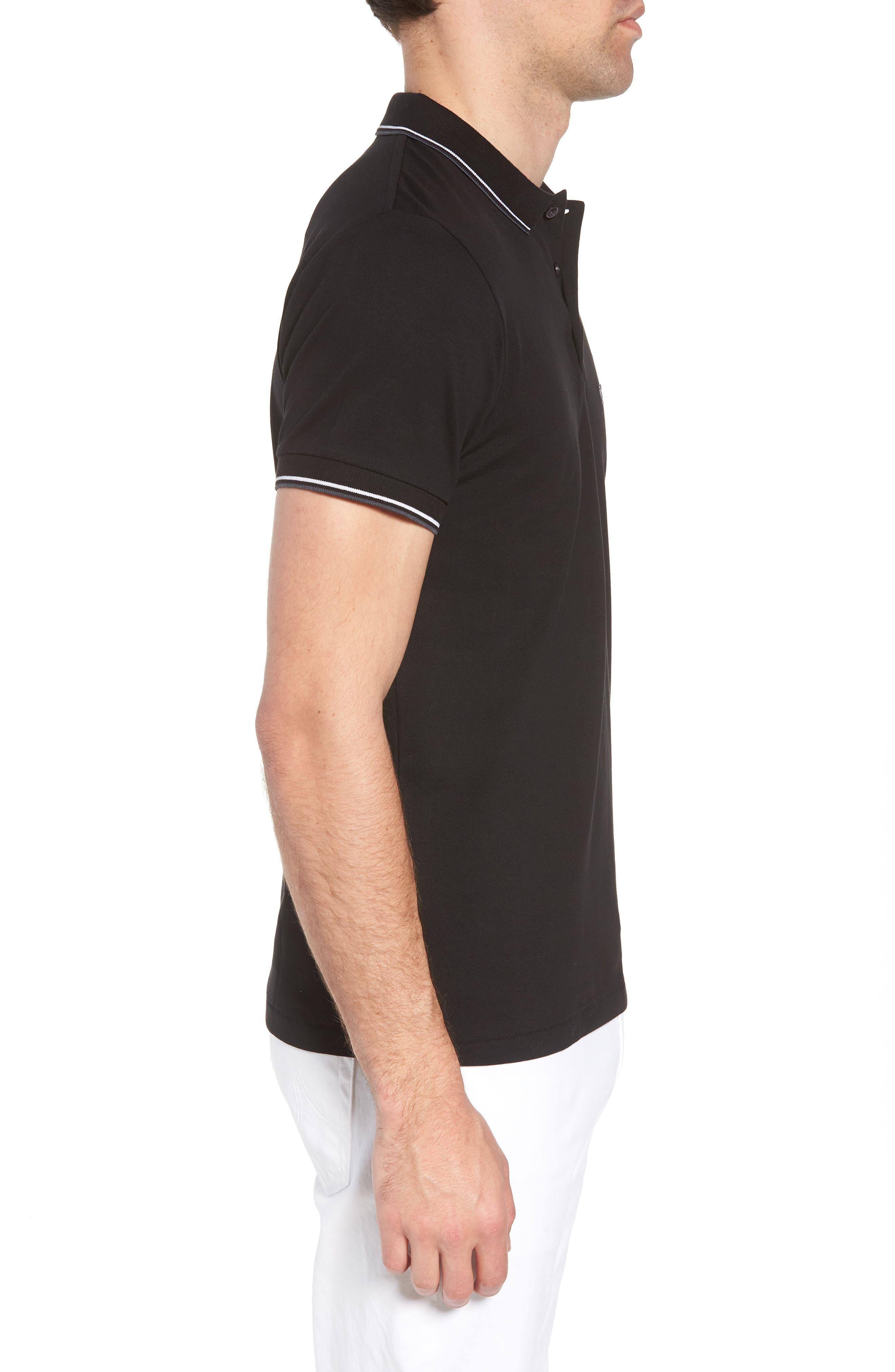 Cotton Polo Shirt,                             Alternate thumbnail 3, color,                             BLACK