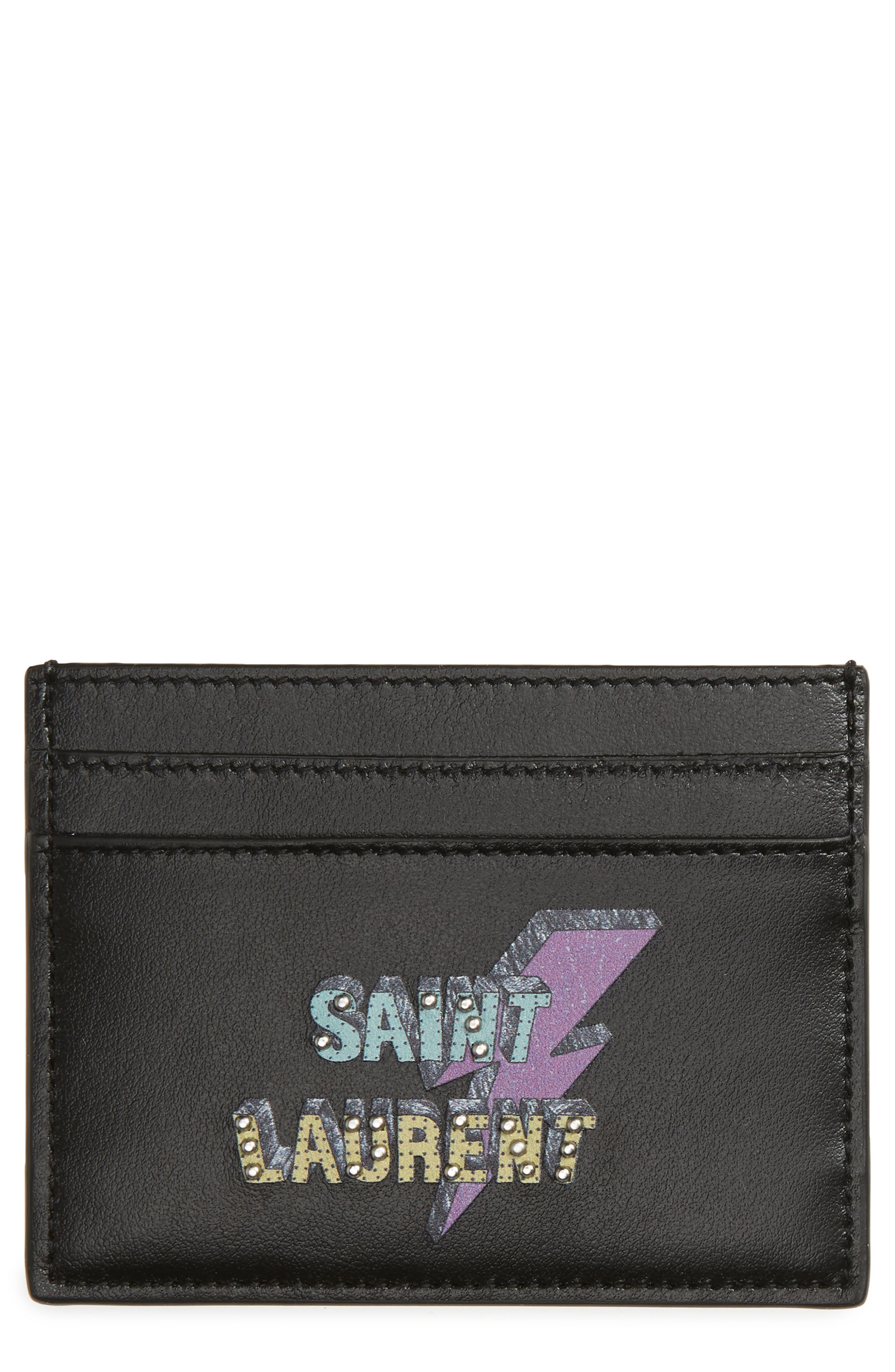 Lightning Logo Leather Card Case,                         Main,                         color, 002