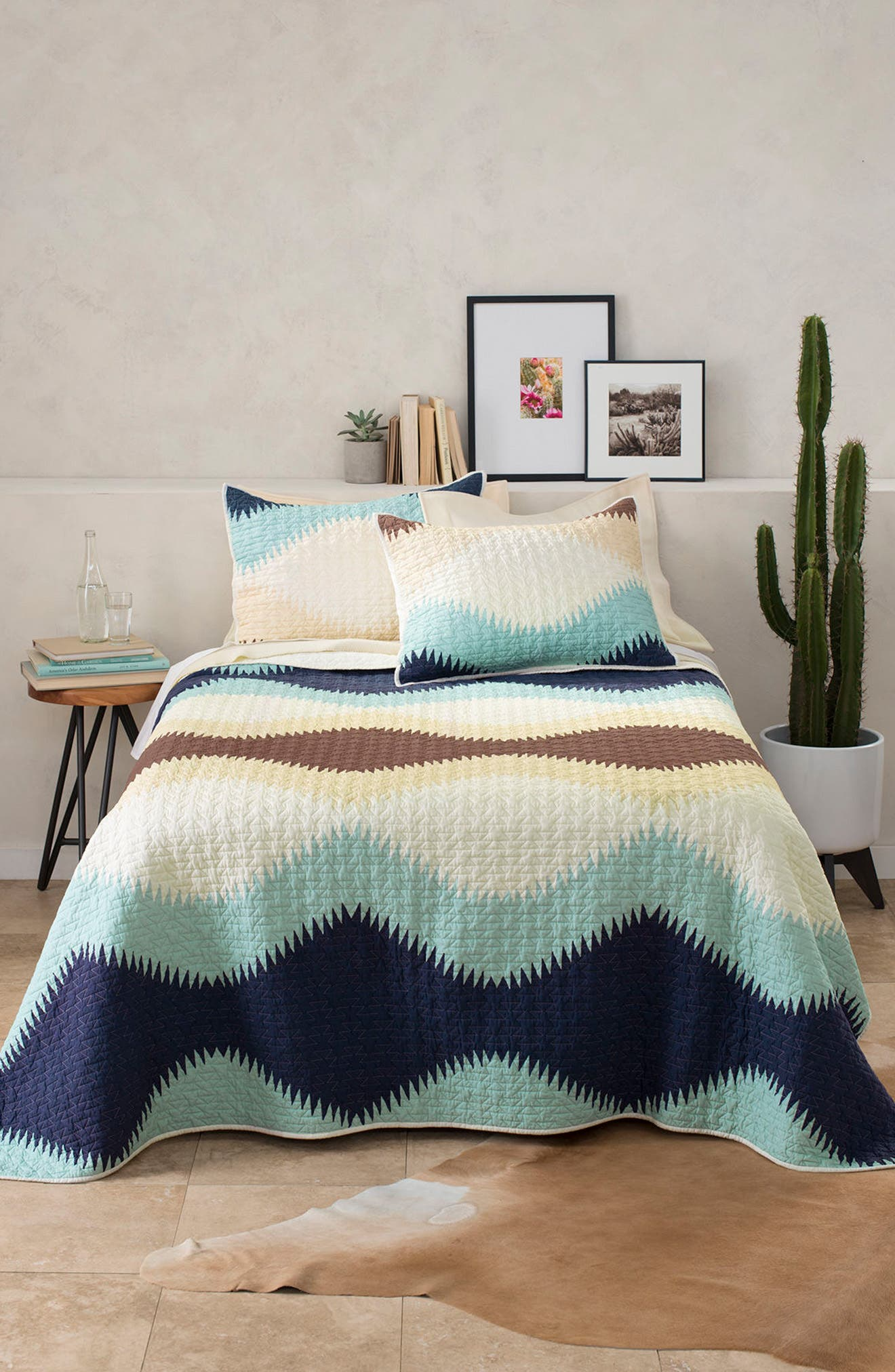 Saguaro Printed Coverlet & Sham Set,                         Main,                         color, 250