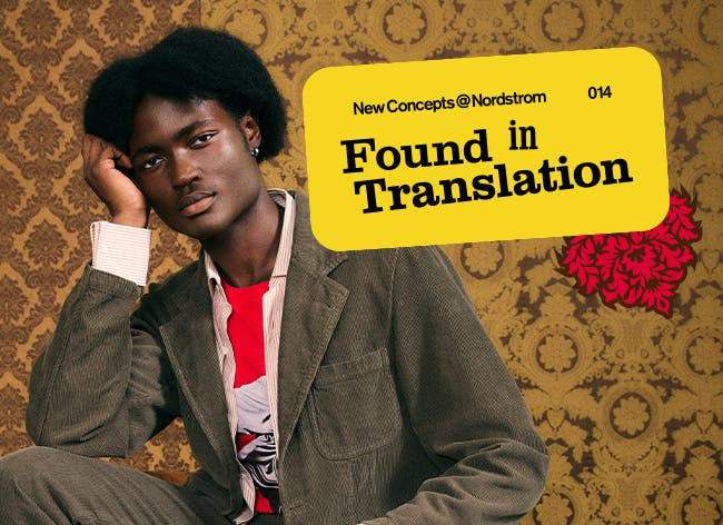 NewConcepts@Nordstrom: Found in Translation—A New Language of American Style. A man in a grey canvas jacket and matching pants, red graphic tee and button-down shirt.