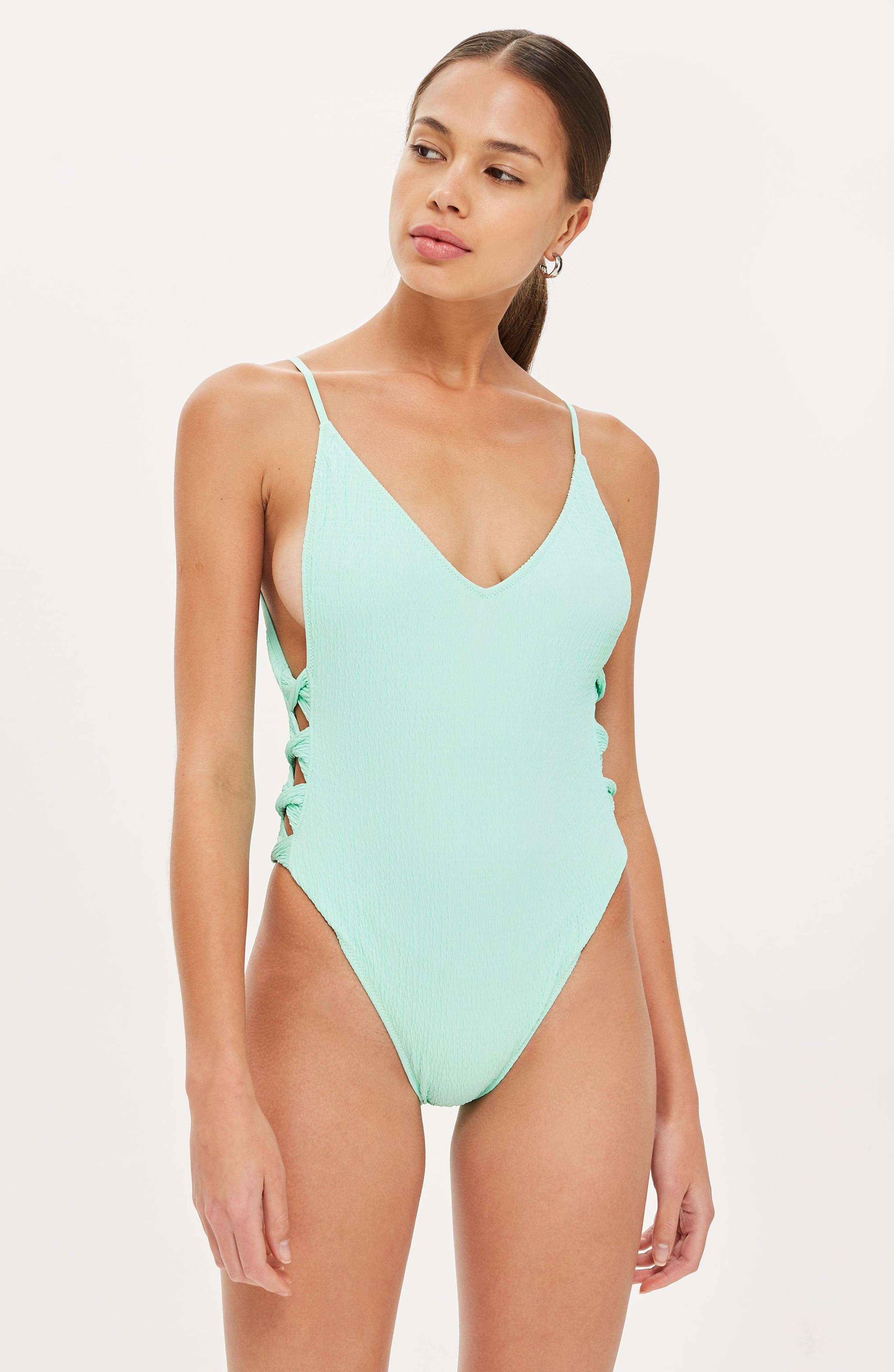 Twist Side Swimsuit,                             Alternate thumbnail 5, color,                             BRIGHT GREEN