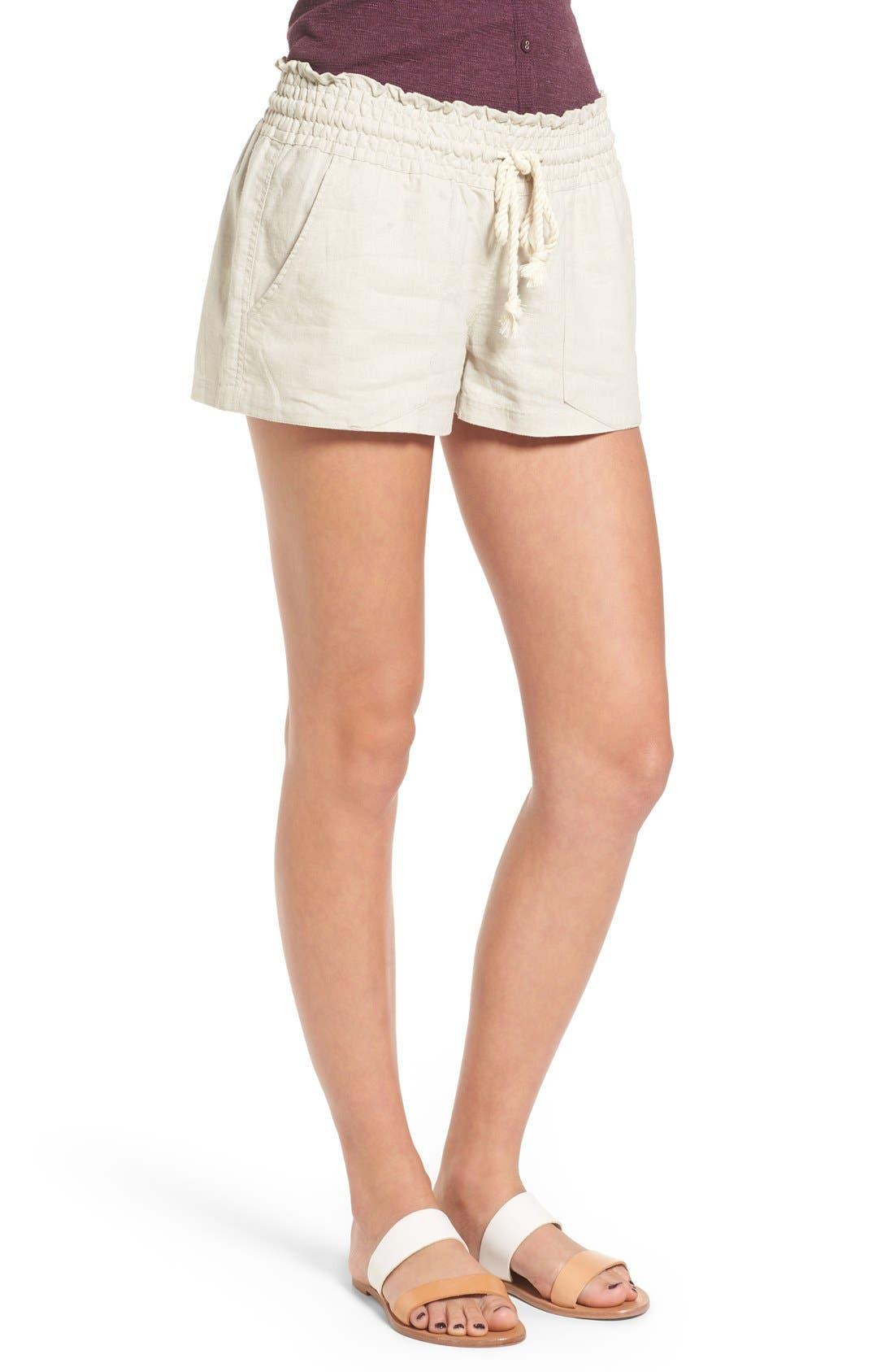 'Oceanside' Linen Blend Shorts,                             Alternate thumbnail 2, color,                             STONE