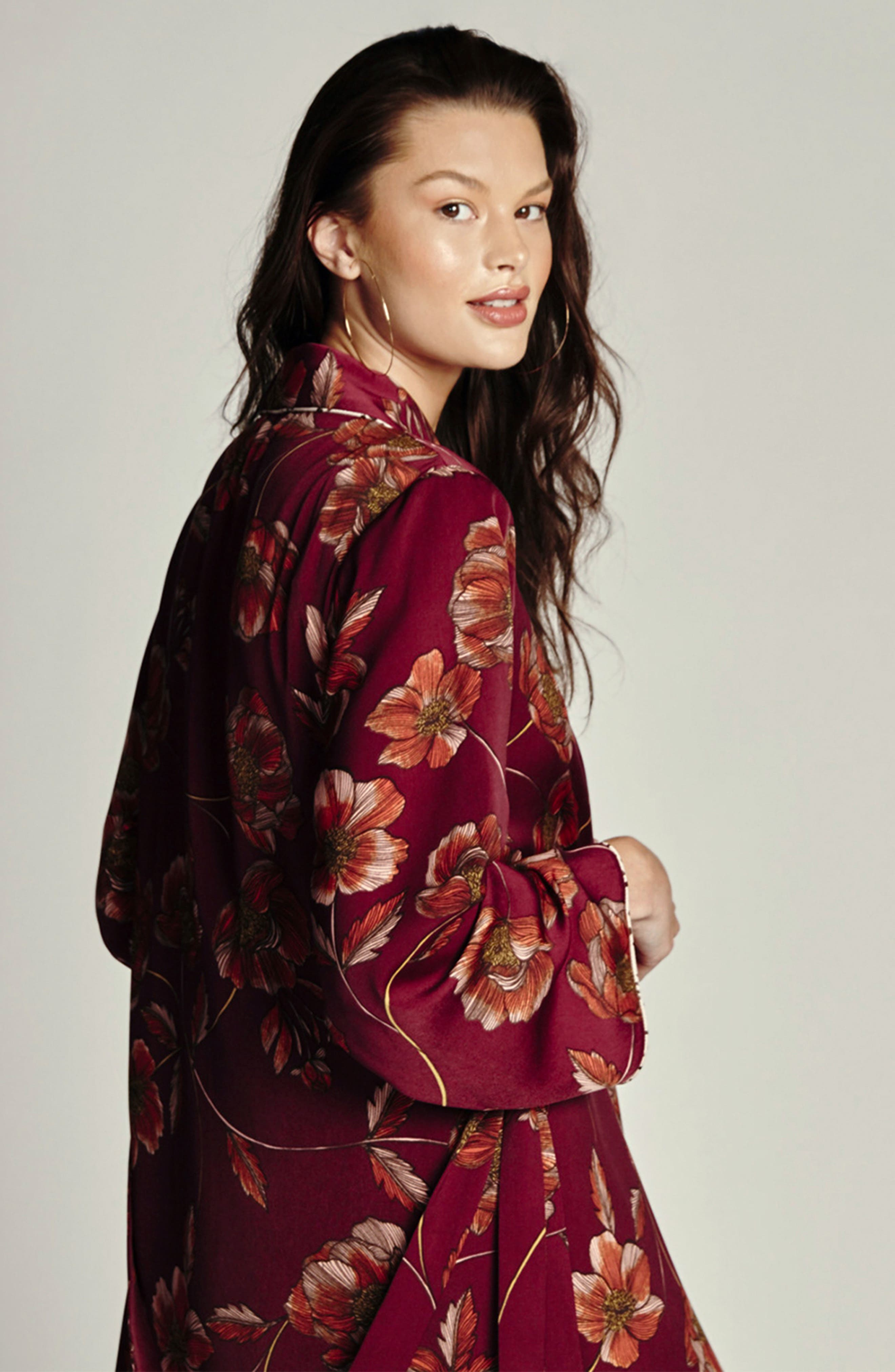 Austin Floral Robe,                             Alternate thumbnail 6, color,                             PLUM