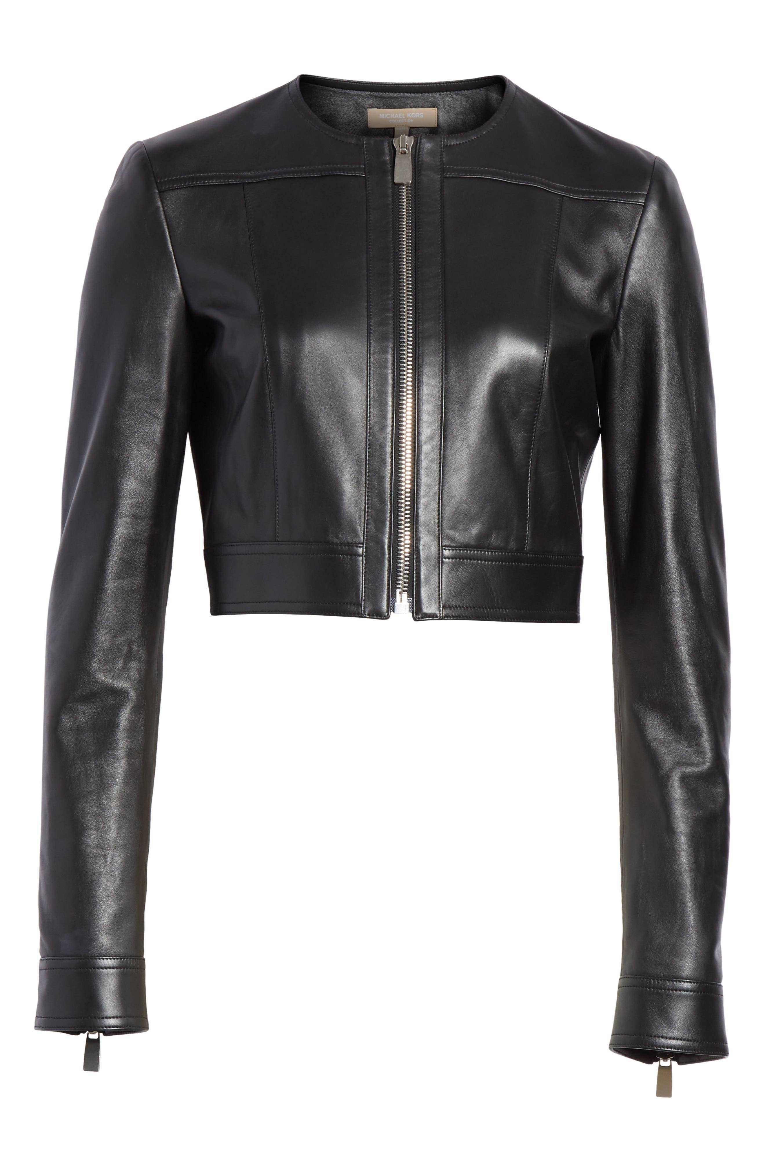Crop Plongé Leather Jacket,                             Alternate thumbnail 6, color,                             BLACK