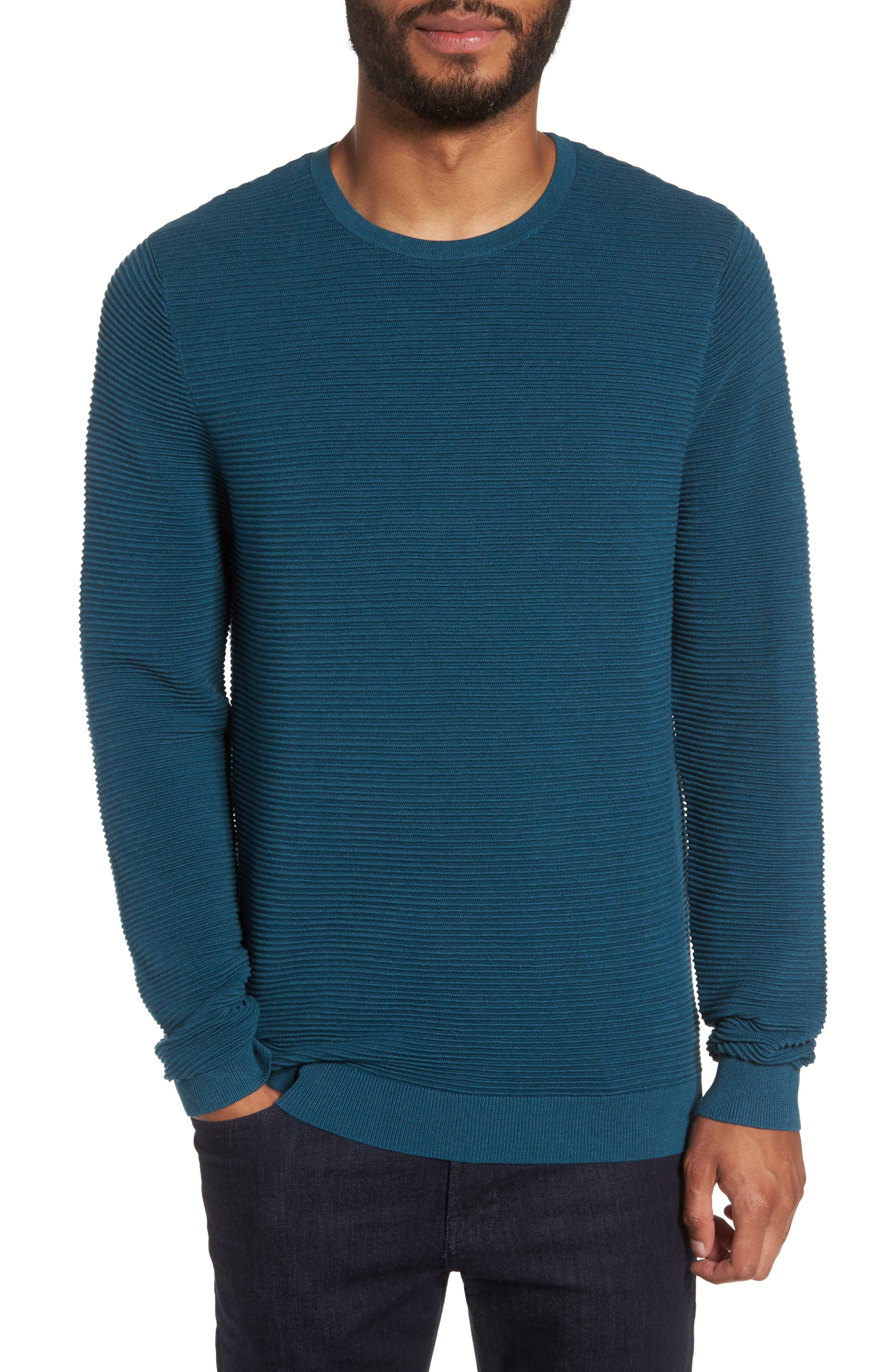 Ottoman Ribbed Crewneck Sweater,                             Main thumbnail 3, color,
