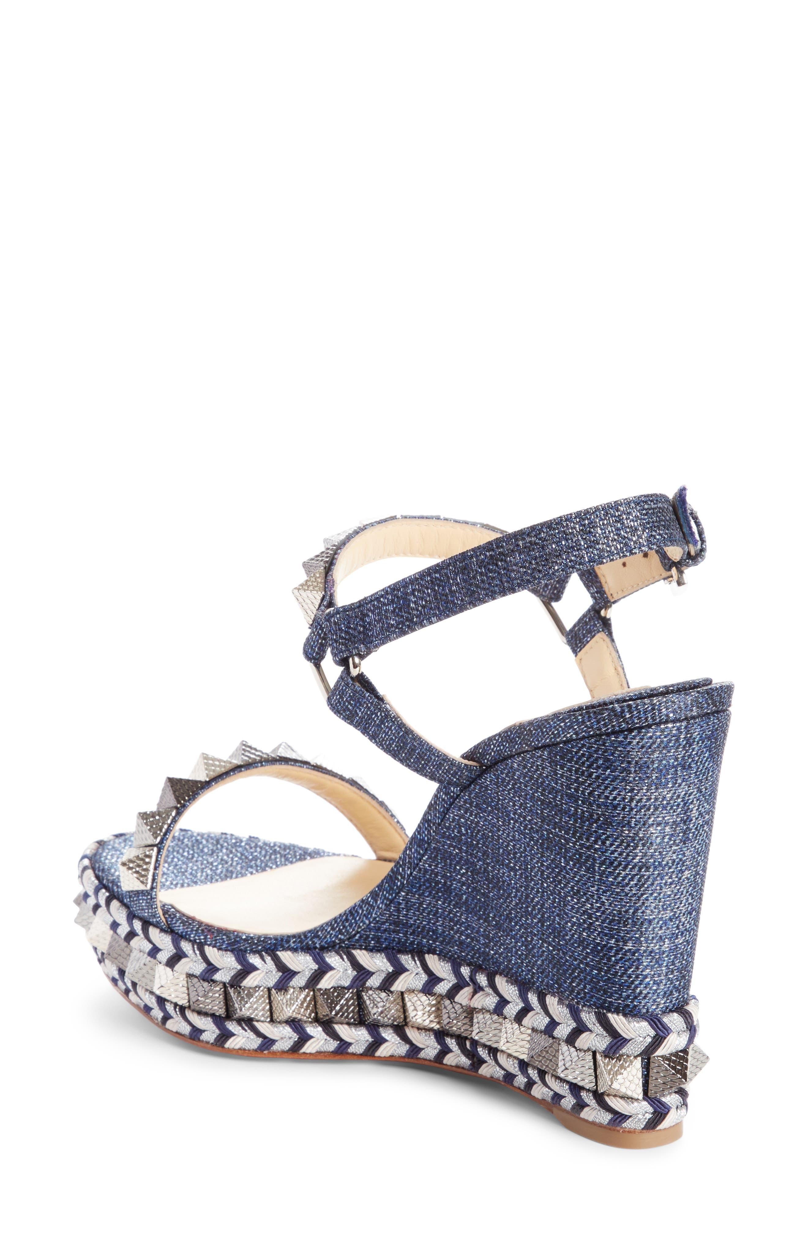 Pyraclou Studded Platform Wedge Sandal,                             Alternate thumbnail 2, color,                             DENIM