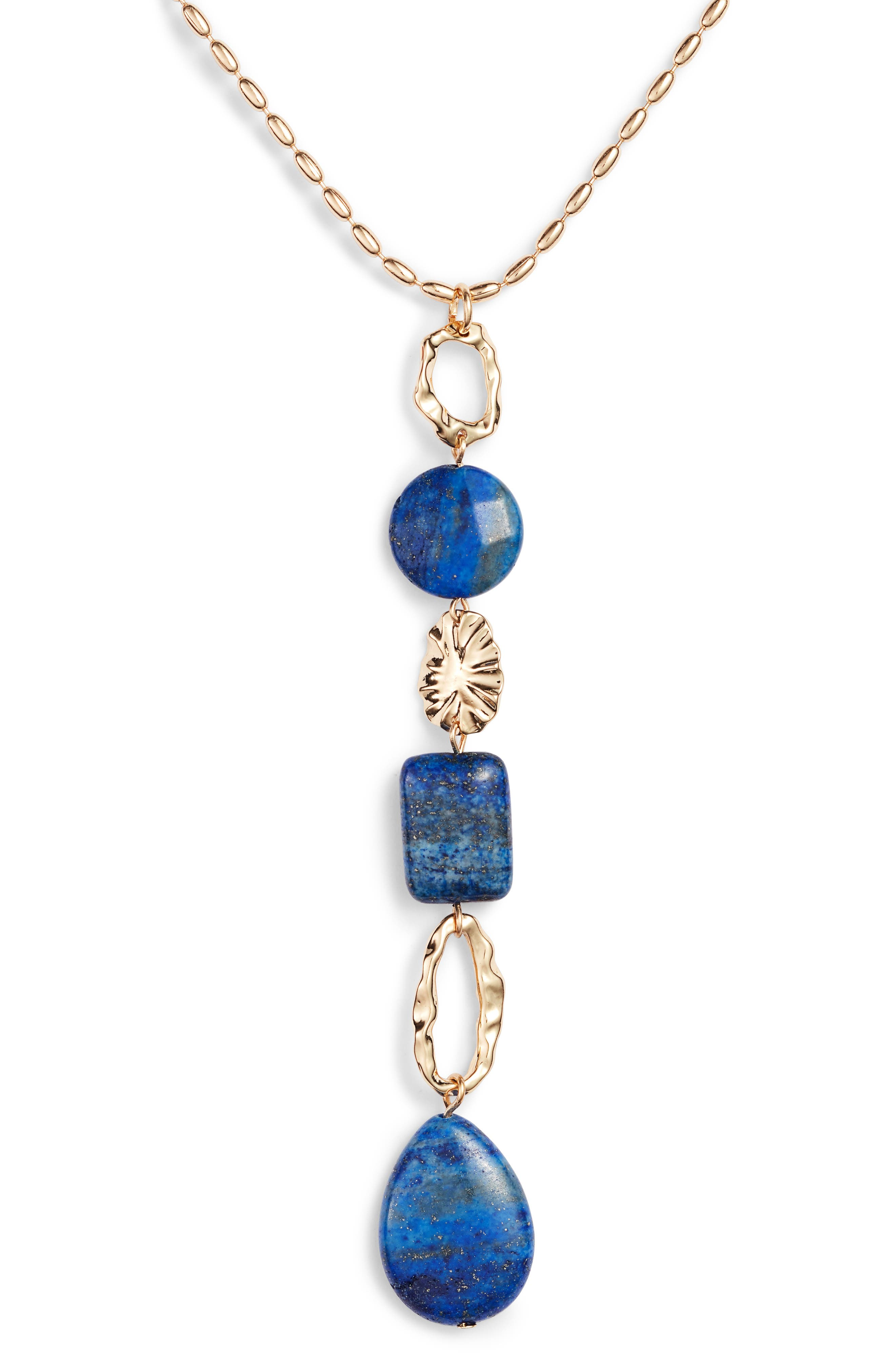 Molten Semiprecious Stone Y-Necklace,                             Alternate thumbnail 2, color,                             LAPIS- GOLD