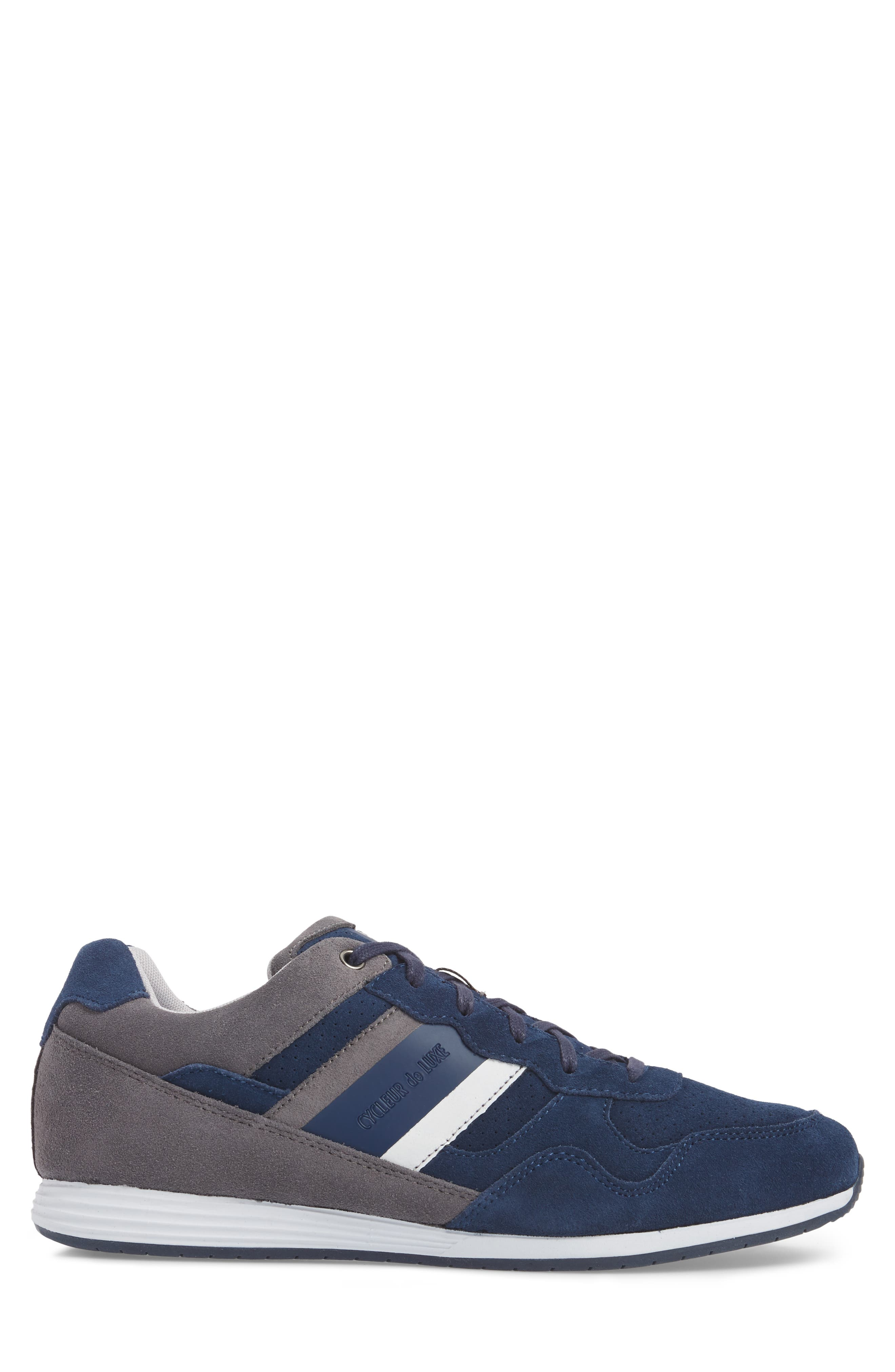 Scarpo Low Top Sneaker,                             Alternate thumbnail 3, color,                             NAVY SUEDE