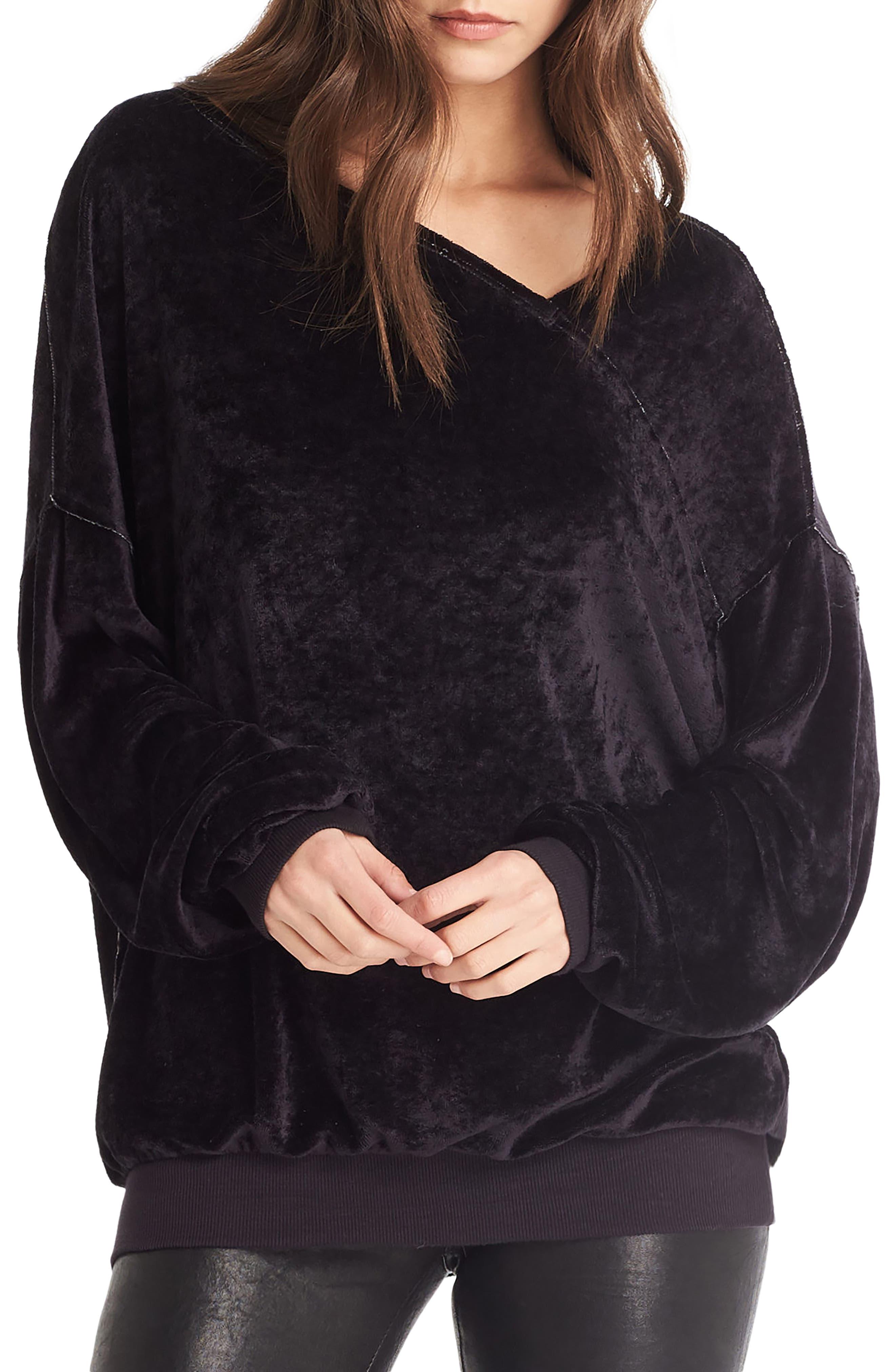 Asymmetrical Neck Velvet Pullover,                             Main thumbnail 1, color,                             001