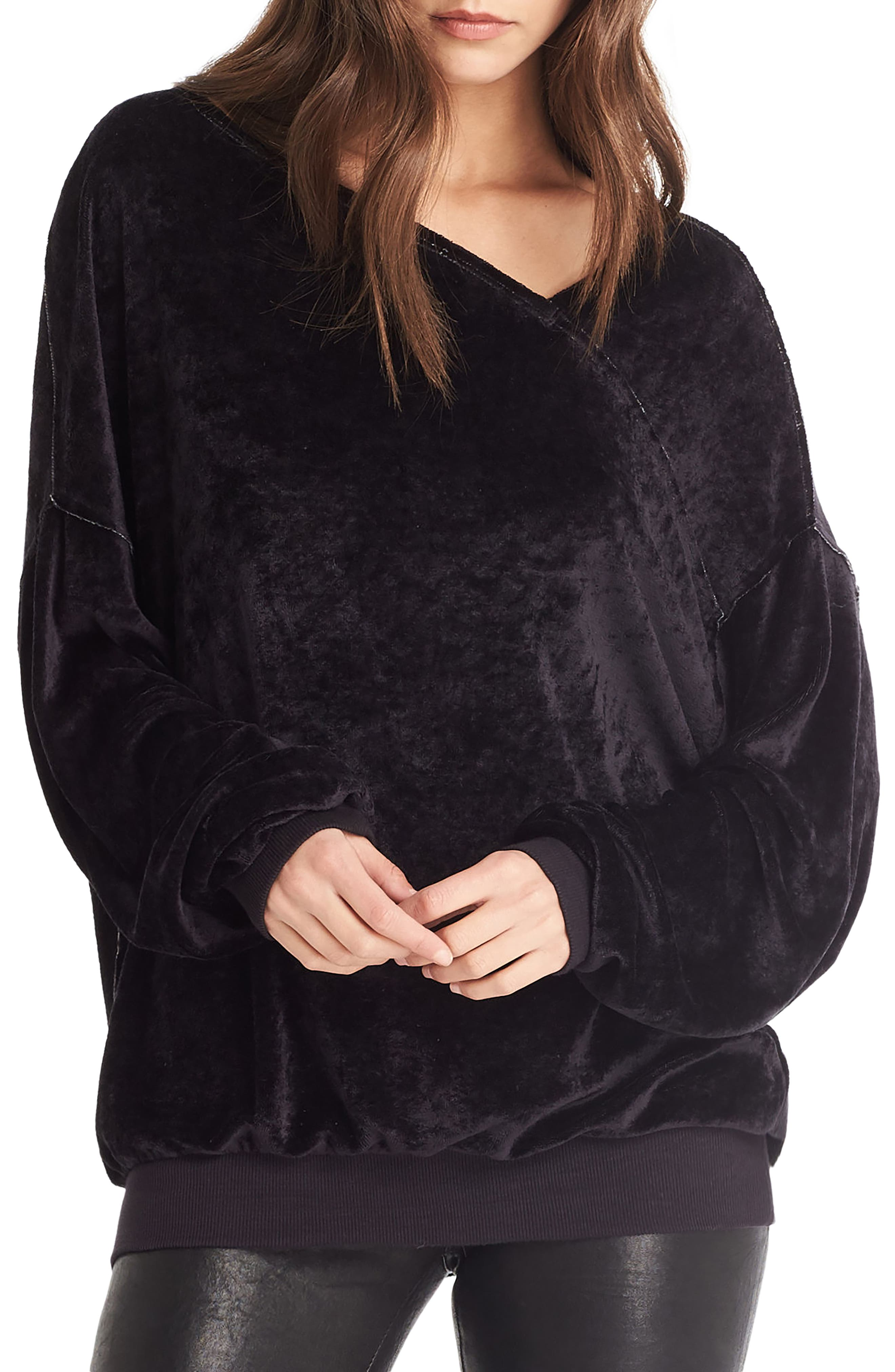 Asymmetrical Neck Velvet Pullover,                         Main,                         color, 001