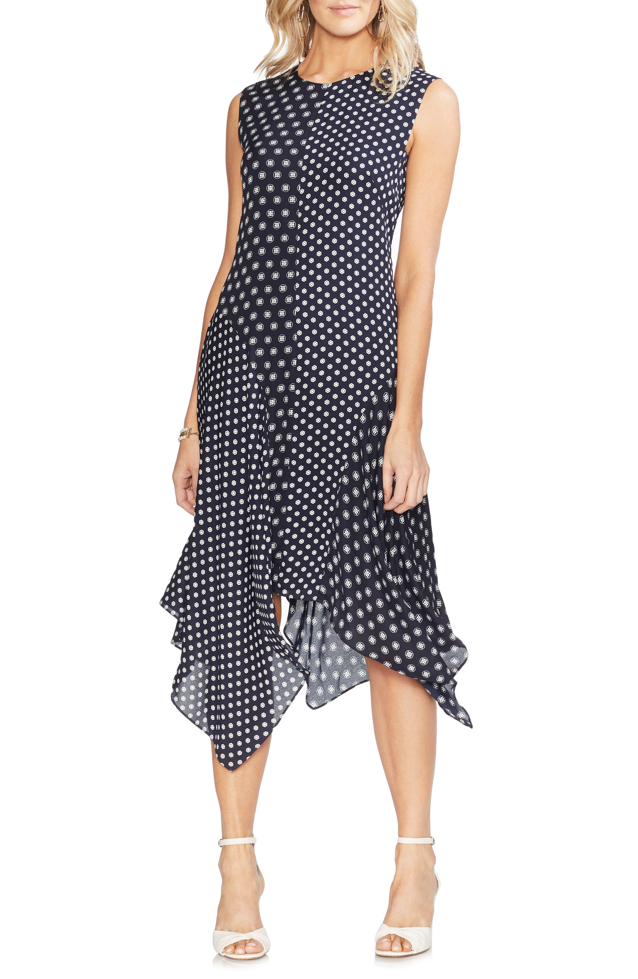 Vince Camuto Geo Asymmetrical Dress, Blue