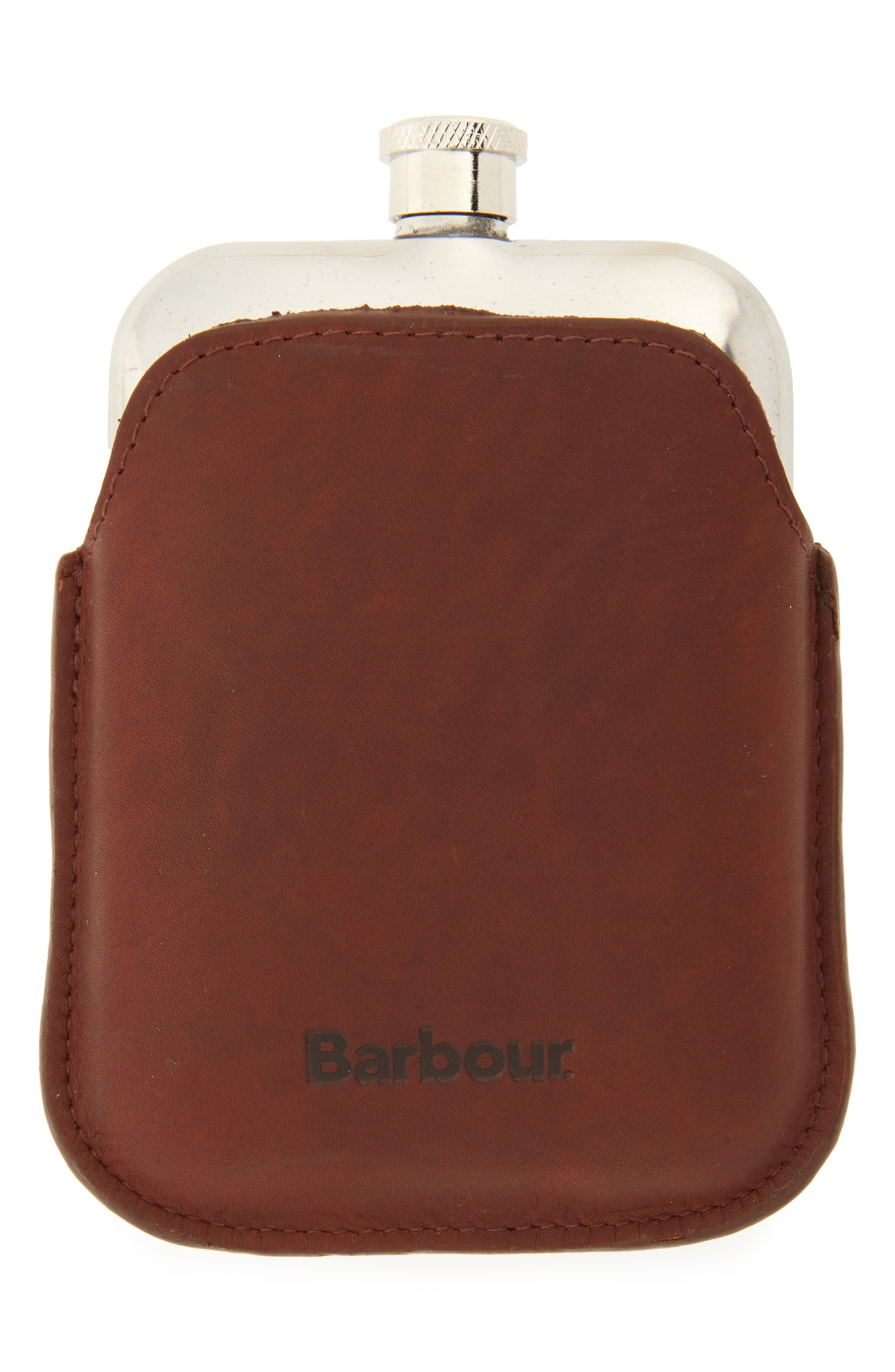 BARBOUR Waxed Leather Flask, Main, color, DARK BROWN