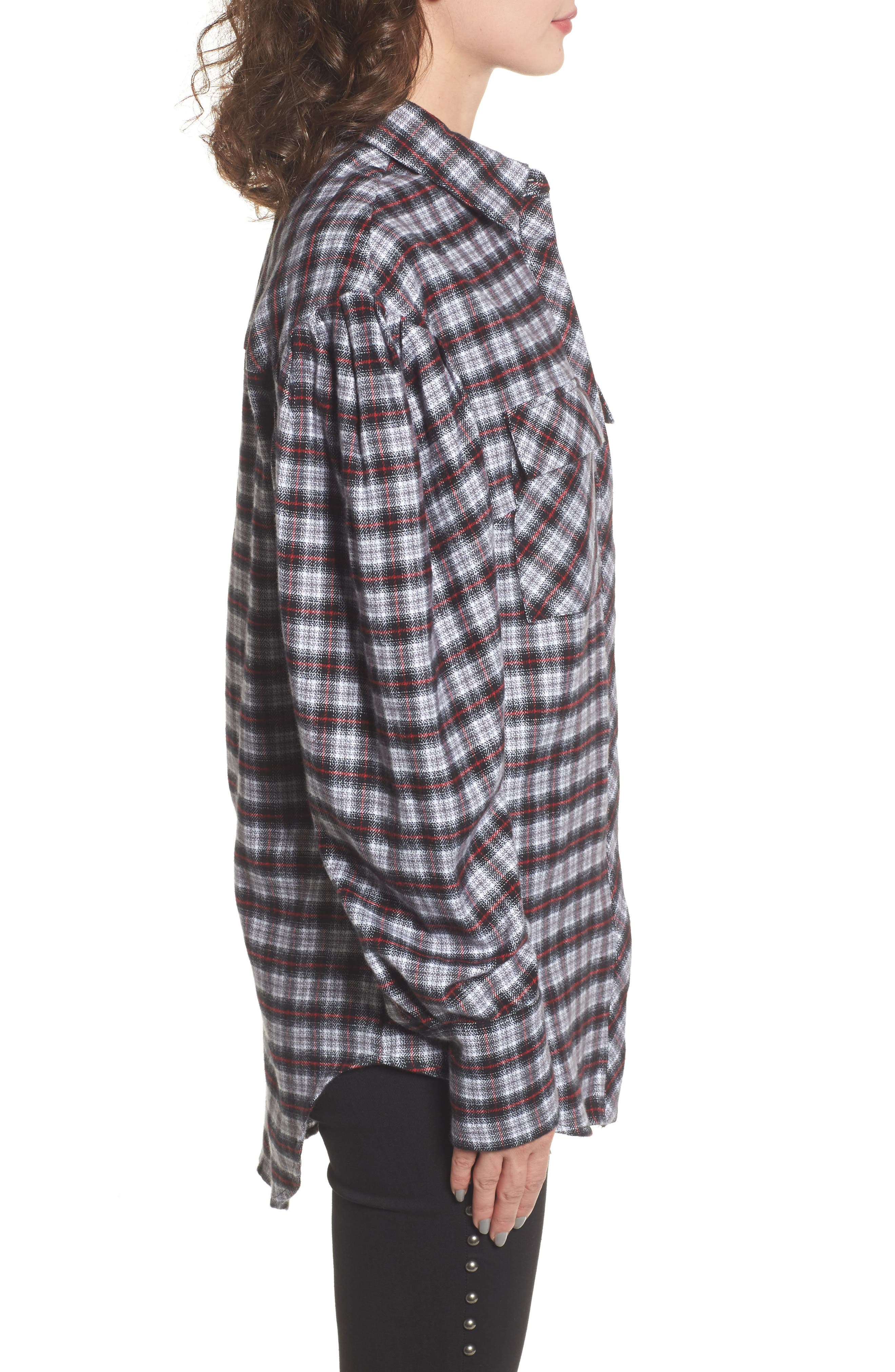 Victoria Oversize Flannel Shirt,                             Alternate thumbnail 3, color,                             001