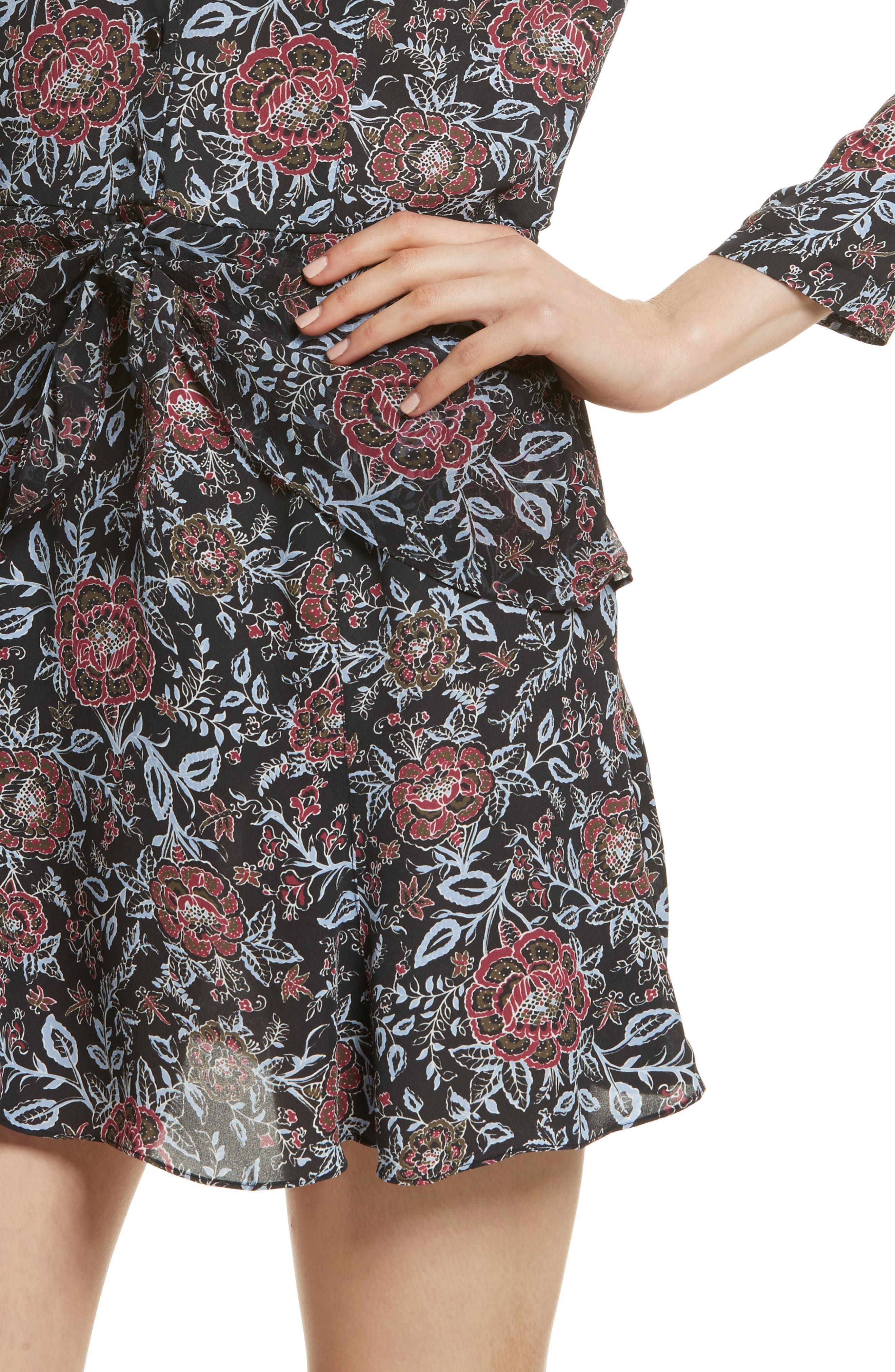 VERONICA BEARD,                             Dropped Tie Waist Silk Dress,                             Alternate thumbnail 4, color,                             600