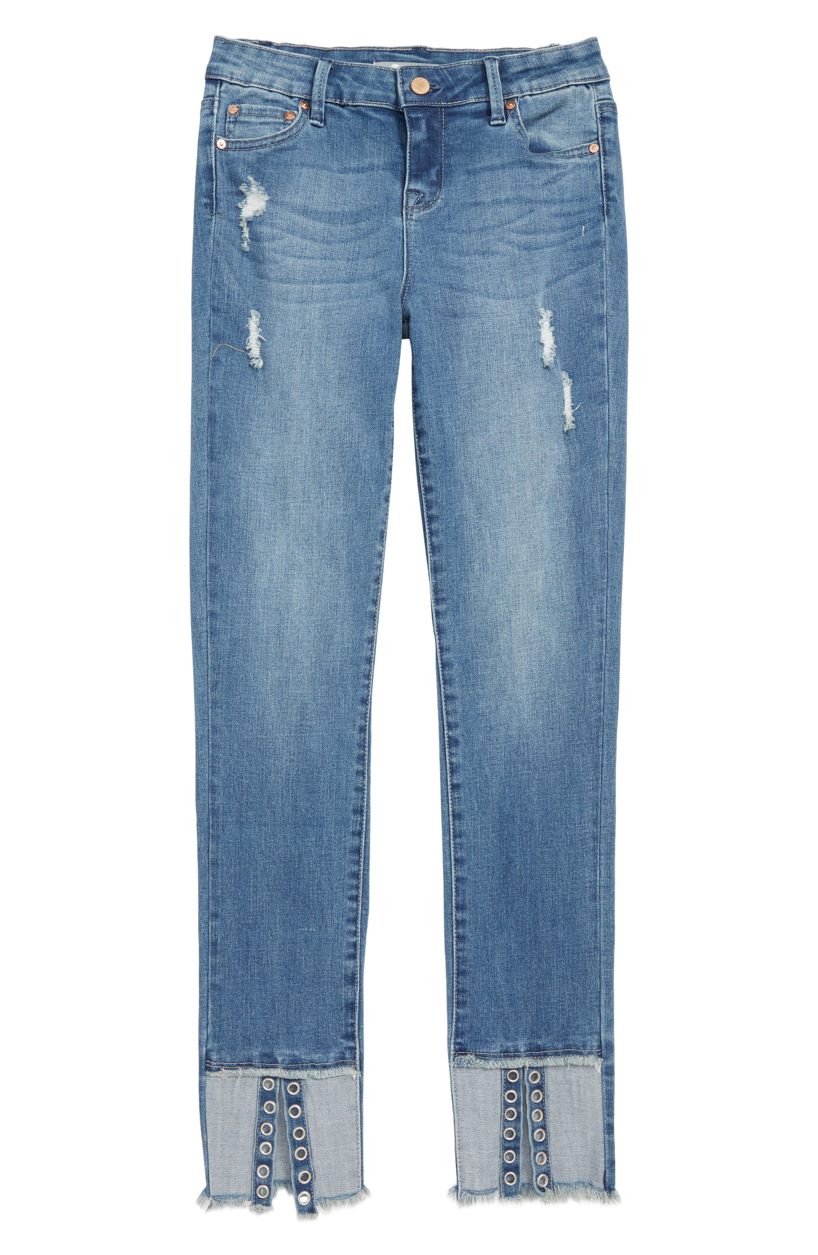 TRACTR Deconstructed Eyelet Hem Skinny Jeans, Main, color, 407