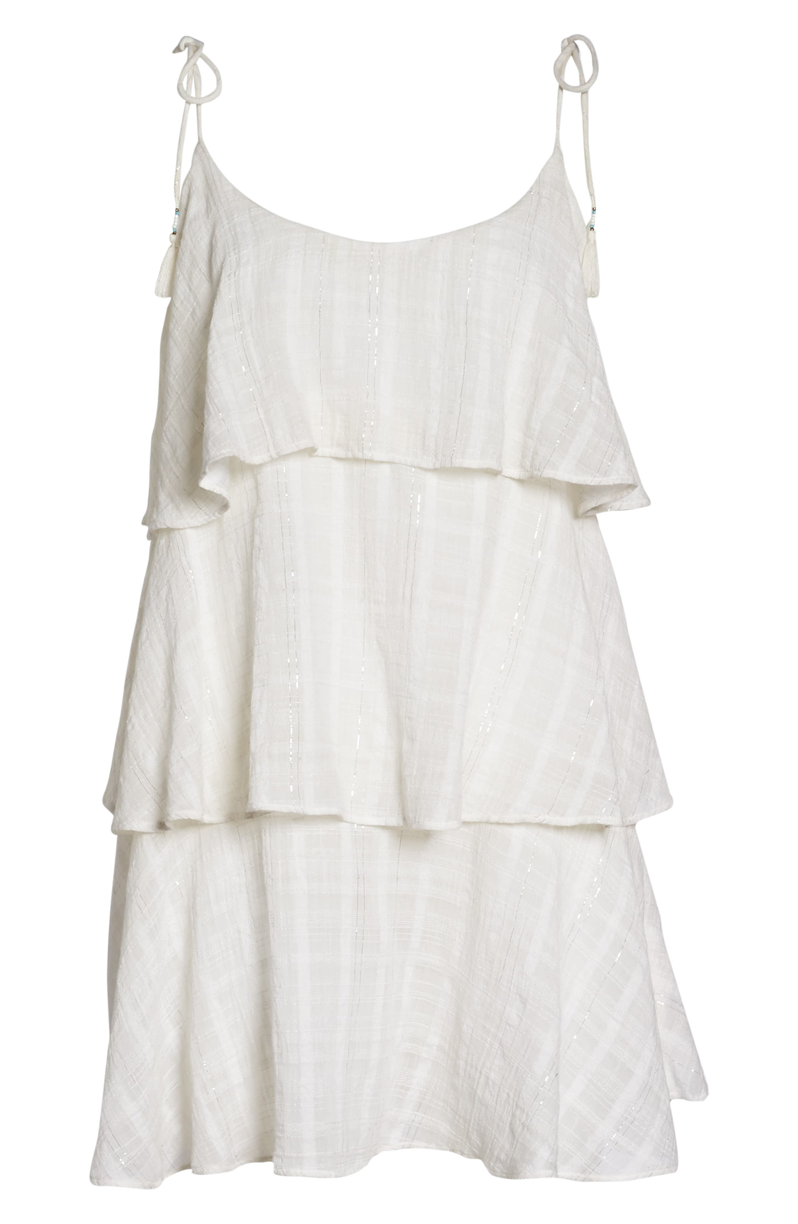 Mariah Ruffled Cover-Up Dress,                             Alternate thumbnail 6, color,                             WHITE-SILVER
