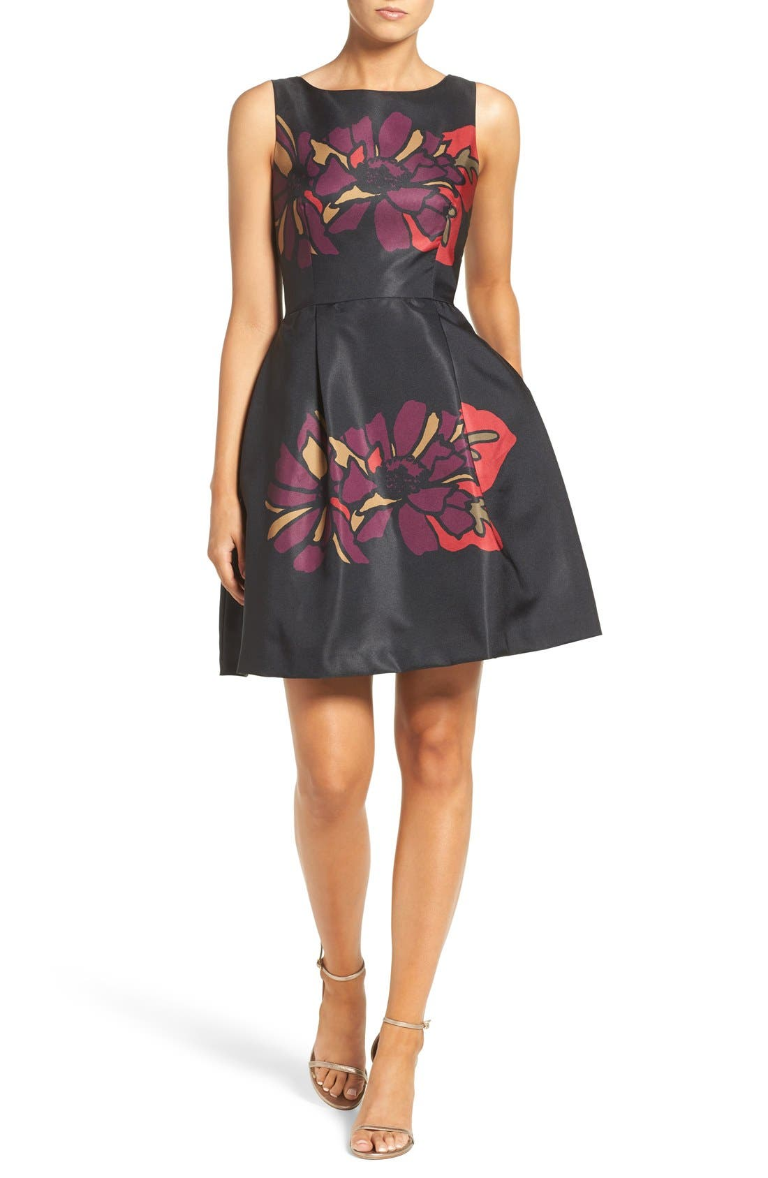 Placed Floral Fit & Flare Dress,                             Alternate thumbnail 5, color,                             011